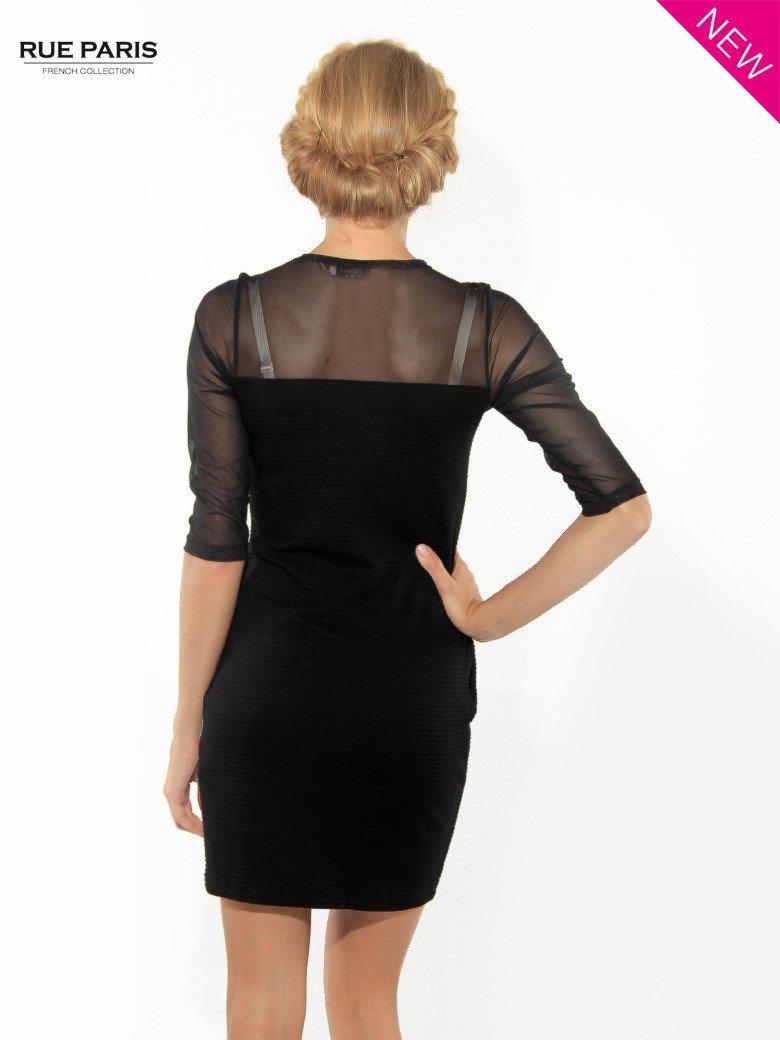 Czarna dopasowana sukienka pokryta na górze siateczką                                  zdj.                                  4
