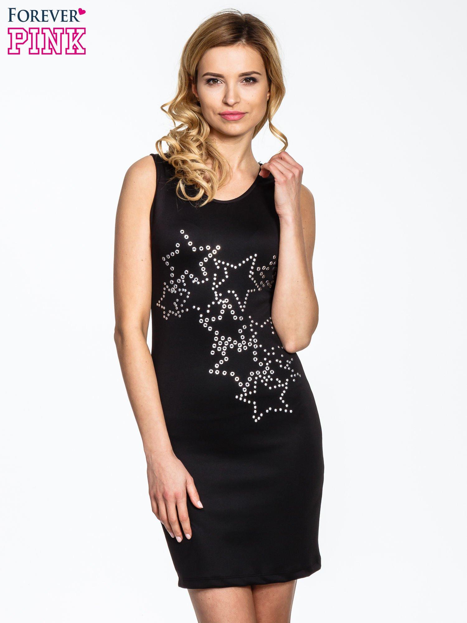Czarna dopasowana sukienka z wzorem gwiazd                                  zdj.                                  1