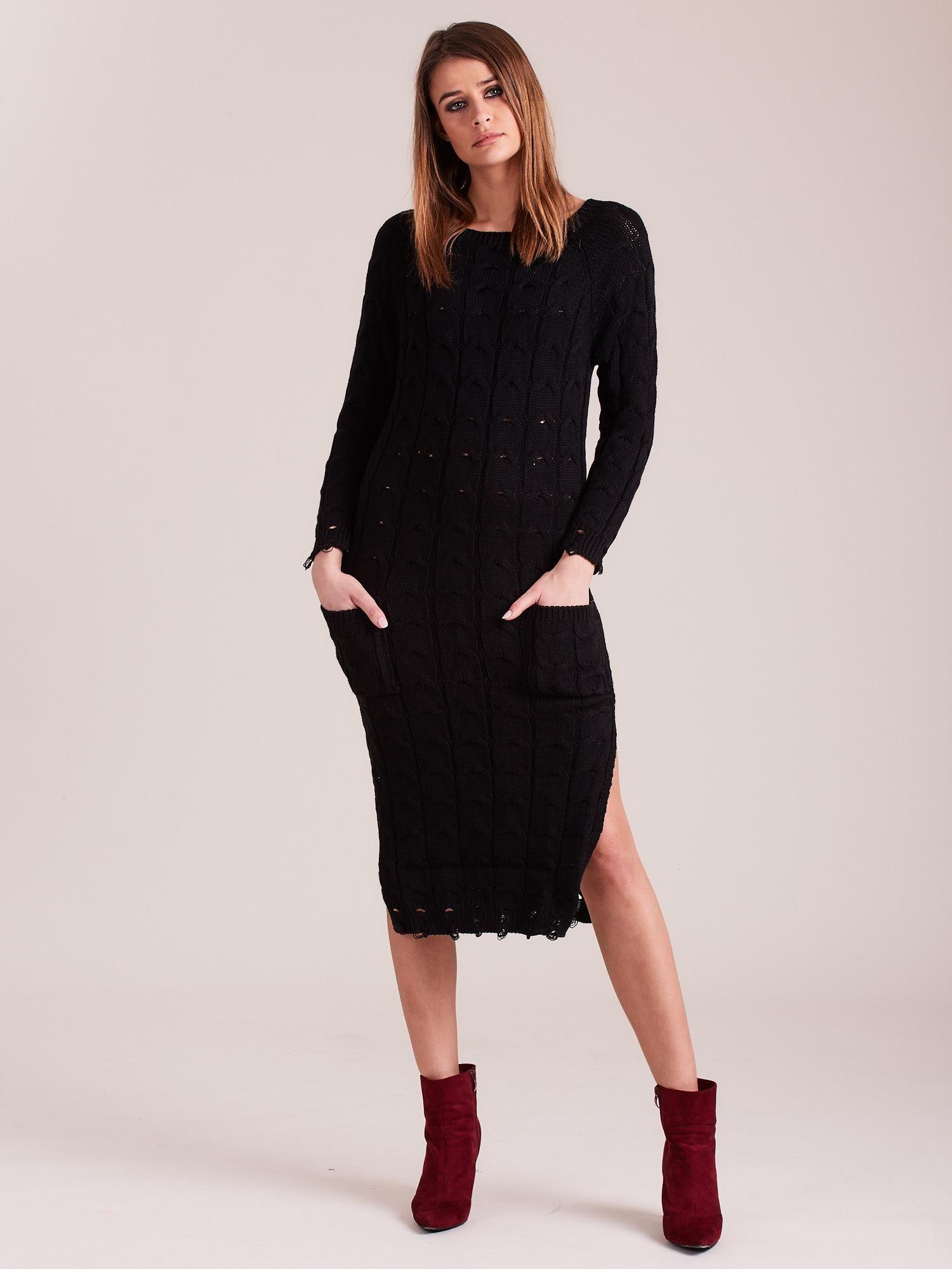 21a23e46dd Czarna dzianinowa sukienka w warkocze - Sukienka dzianinowa - sklep ...