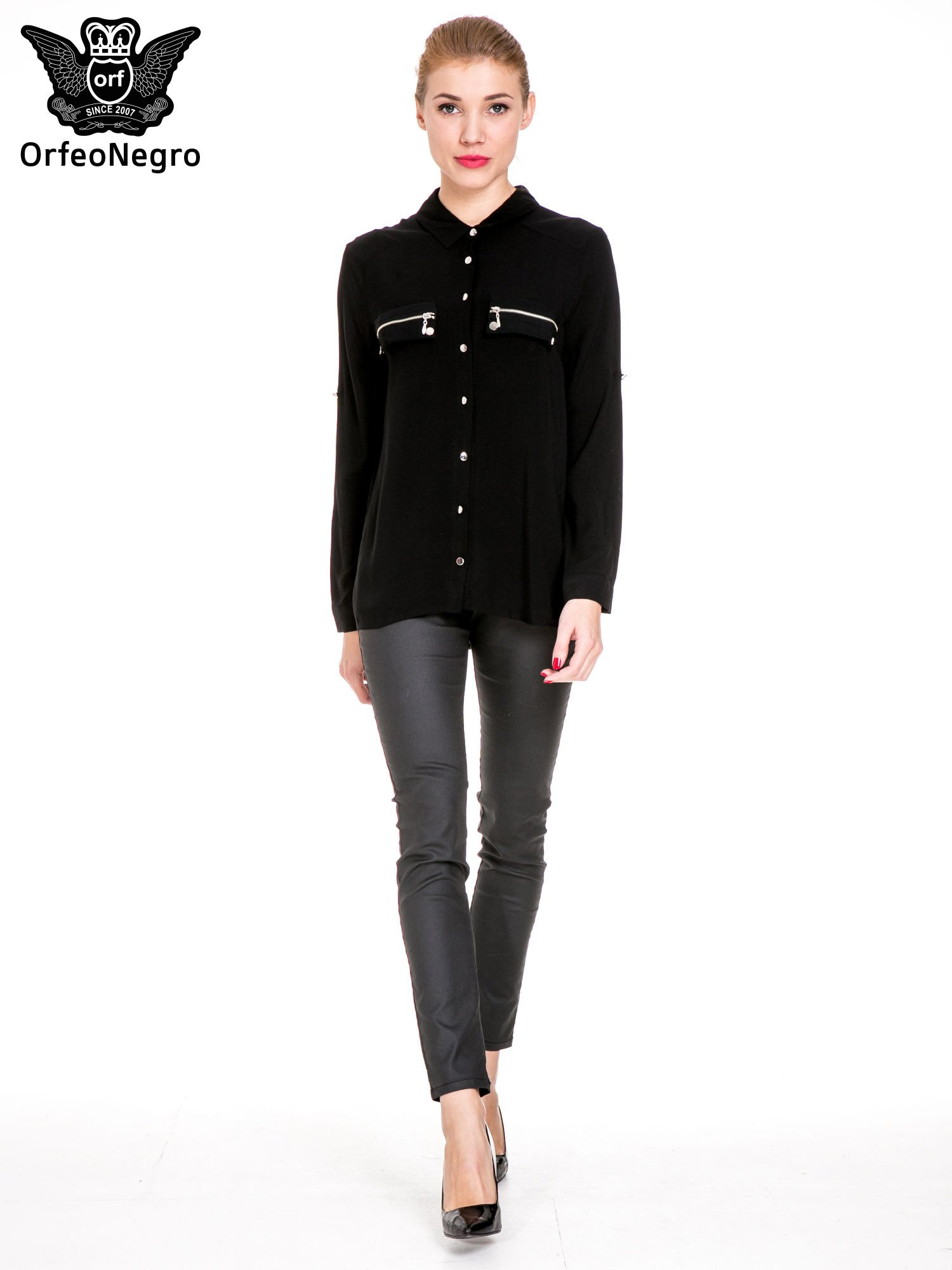 Czarna elegancka koszula z suwakami i napami                                  zdj.                                  2