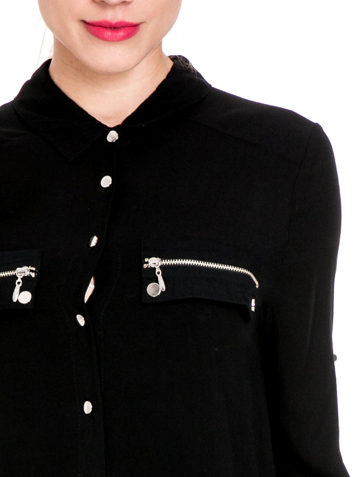 Czarna elegancka koszula z suwakami i napami                                  zdj.                                  7