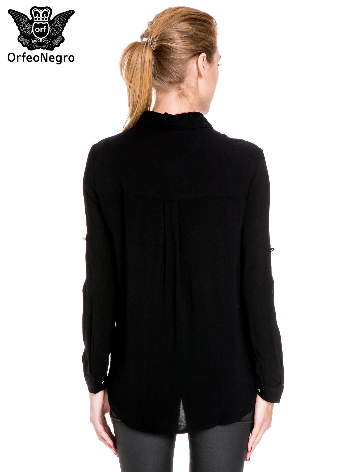 Czarna elegancka koszula z suwakami i napami                                  zdj.                                  4