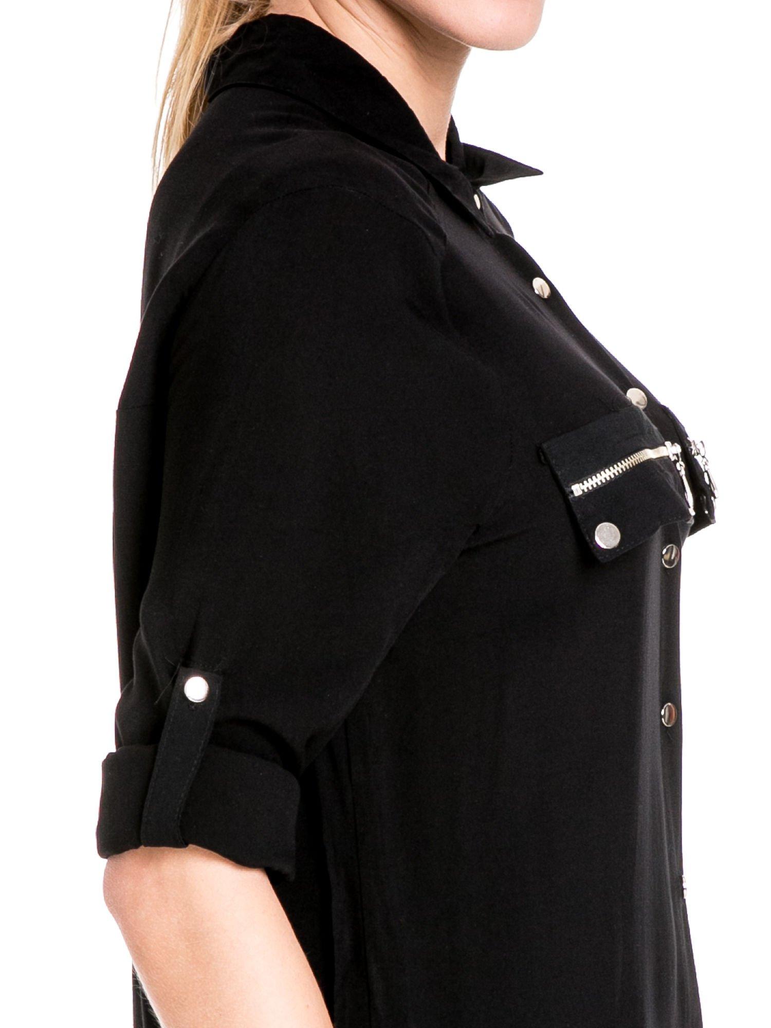 Czarna elegancka koszula z suwakami i napami                                  zdj.                                  6