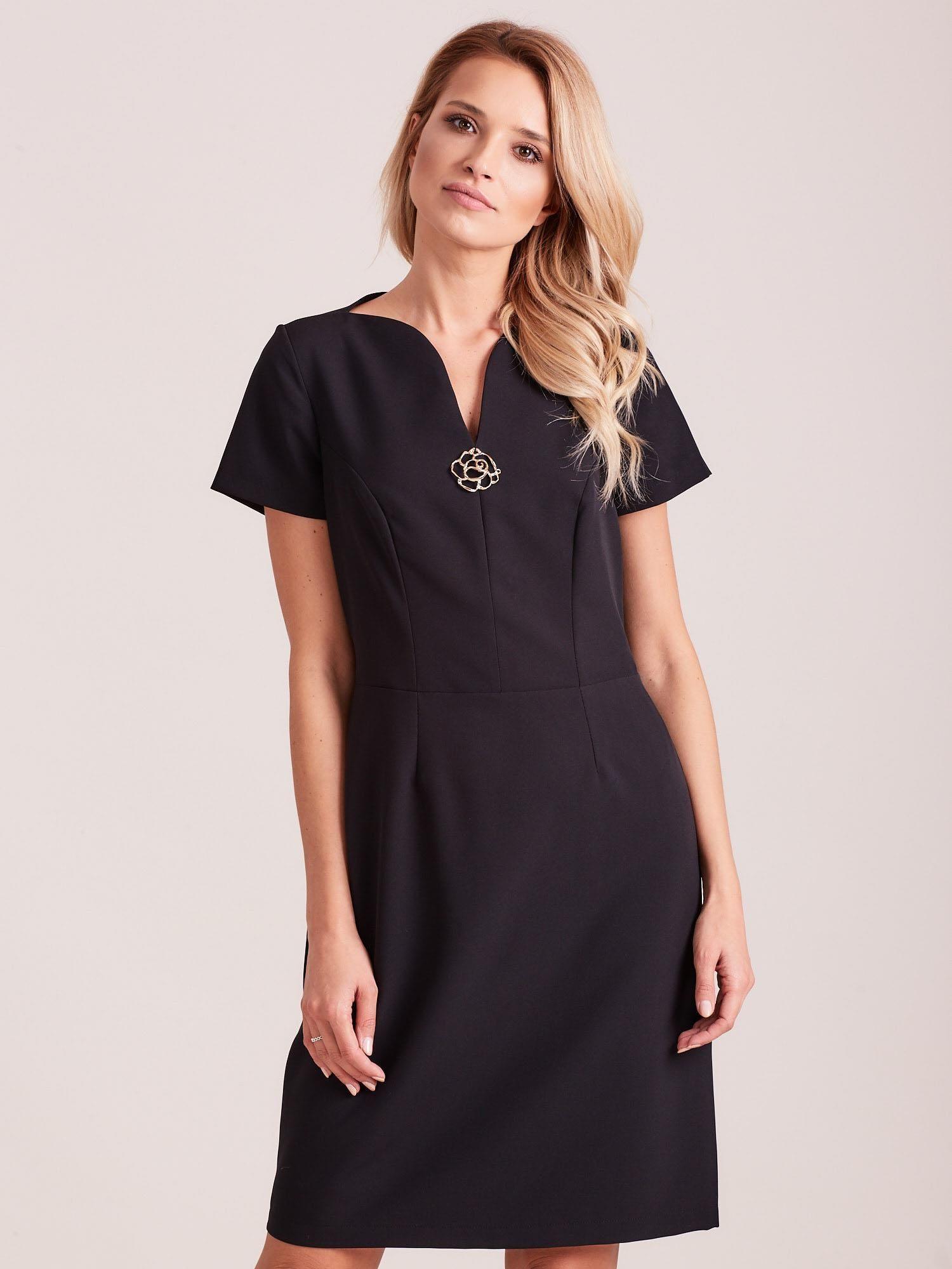 800c8f67a5 Czarna elegancka sukienka - Sukienka koktajlowa - sklep eButik.pl