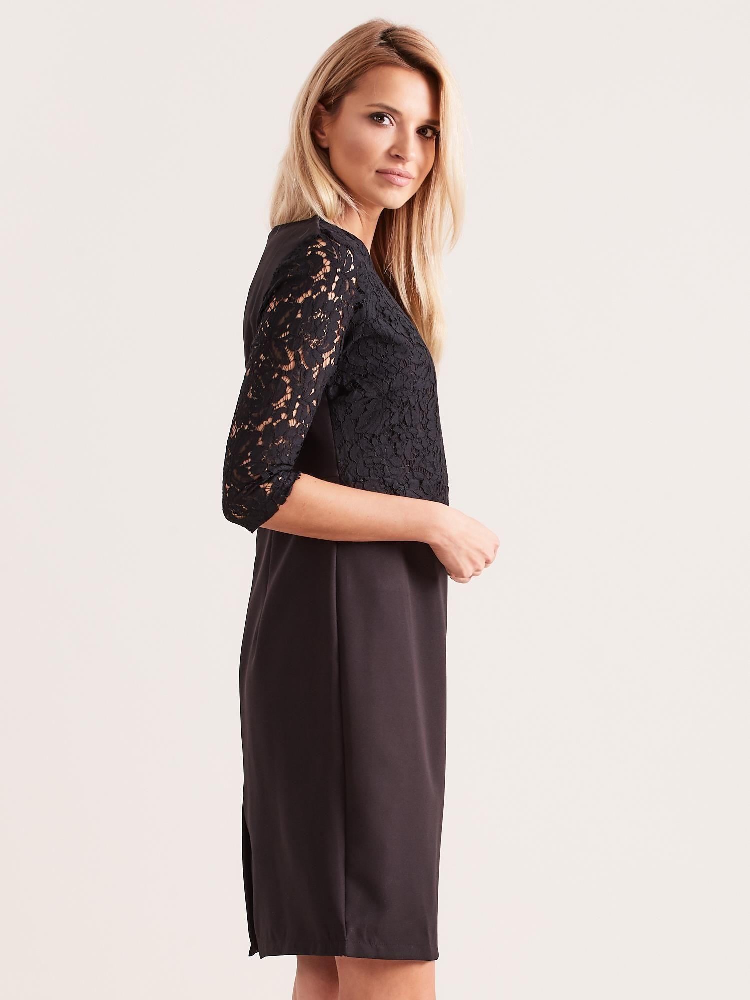 665acc79c3 Czarna elegancka sukienka z koronką - Sukienka wieczorowa - sklep ...