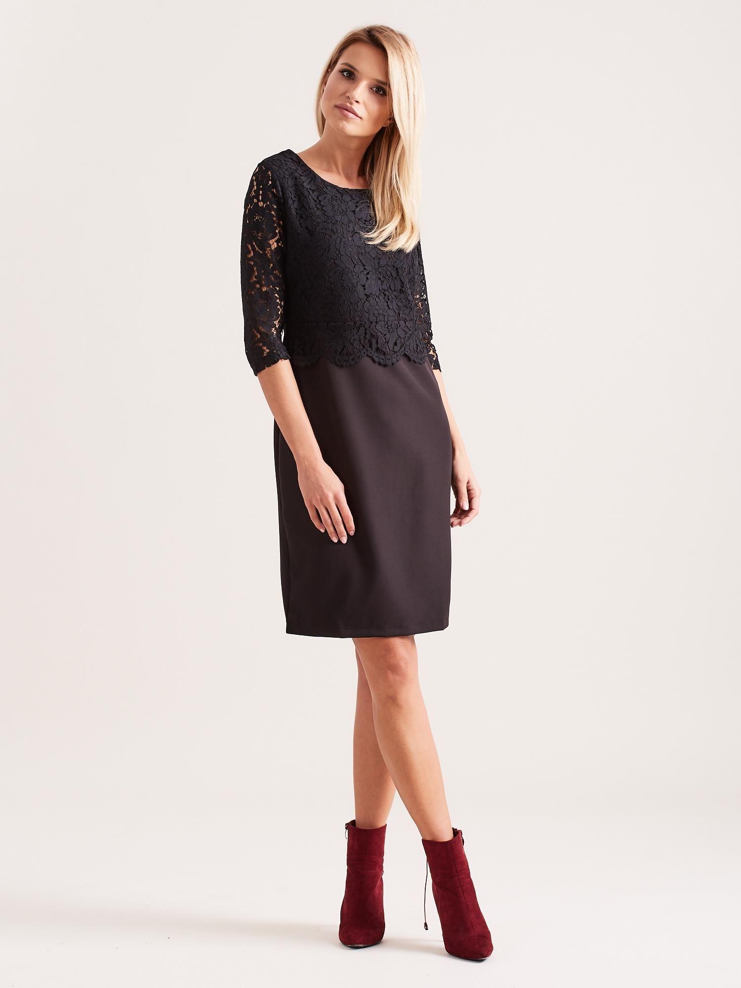 07cf2986b15521 Czarna elegancka sukienka z koronką - Sukienka wieczorowa - sklep ...