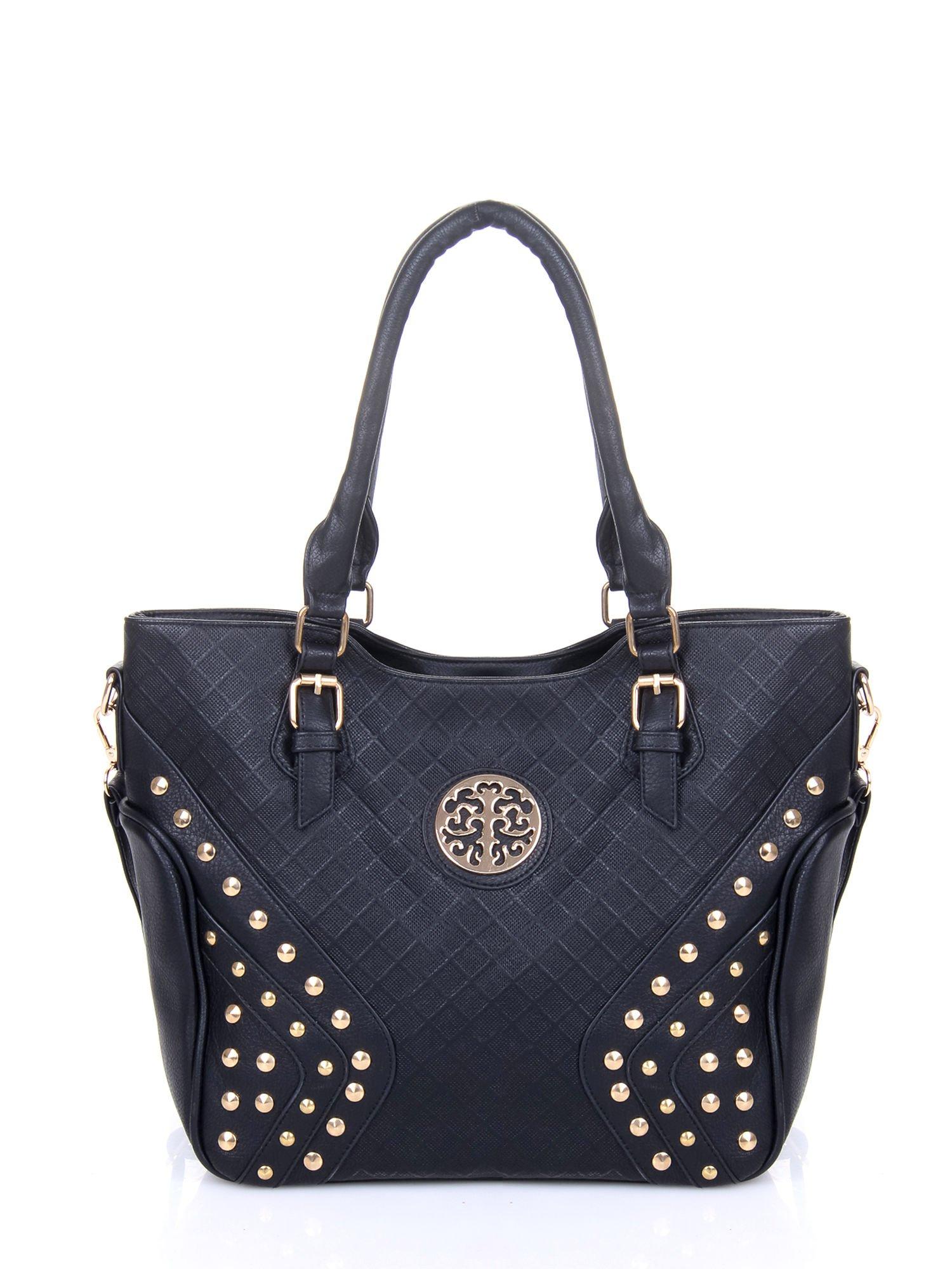 Czarna fakturowana torba ze złotymi nitami                                  zdj.                                  5