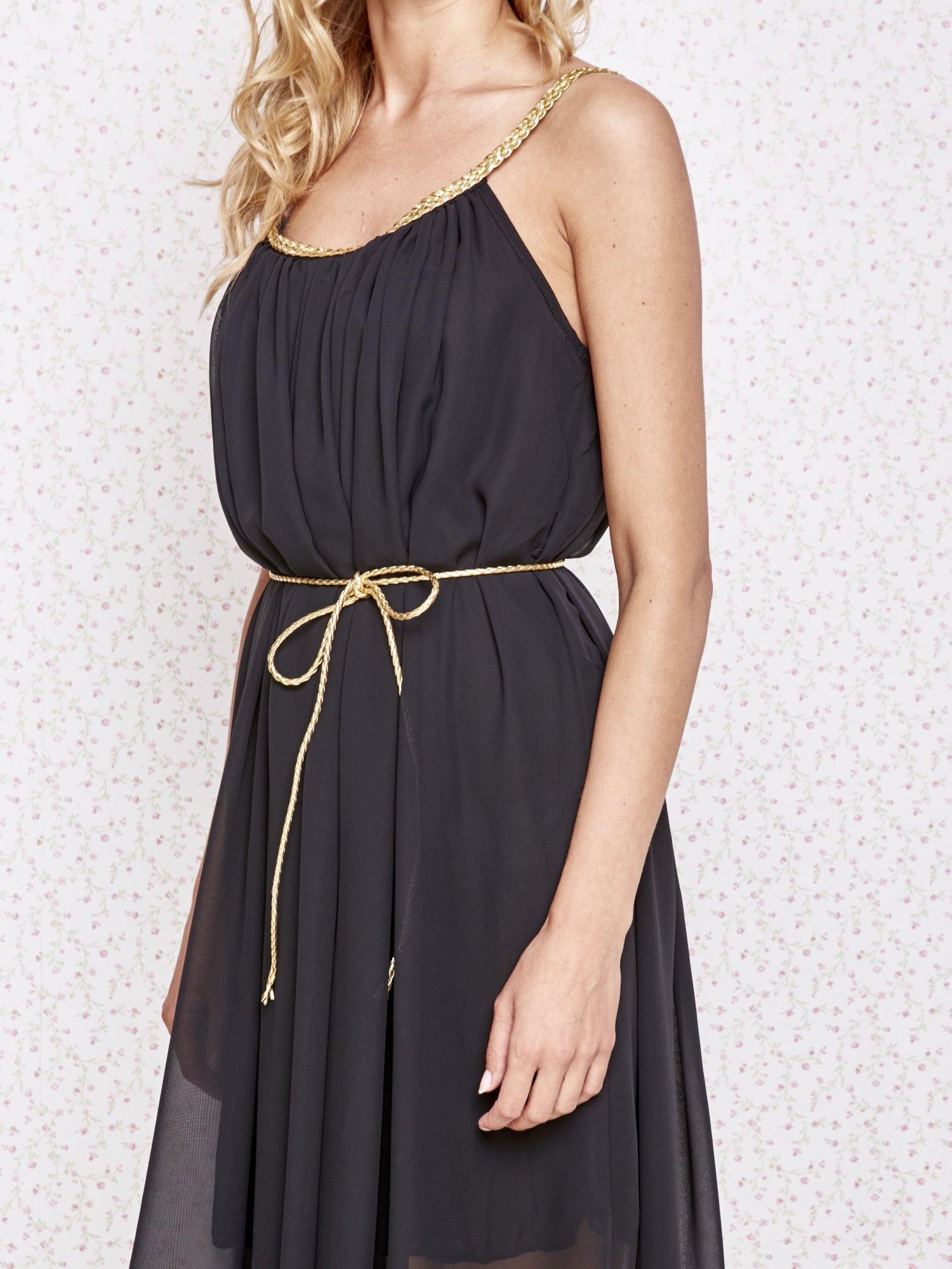 Czarna grecka sukienka ze złotym paskiem                                  zdj.                                  5