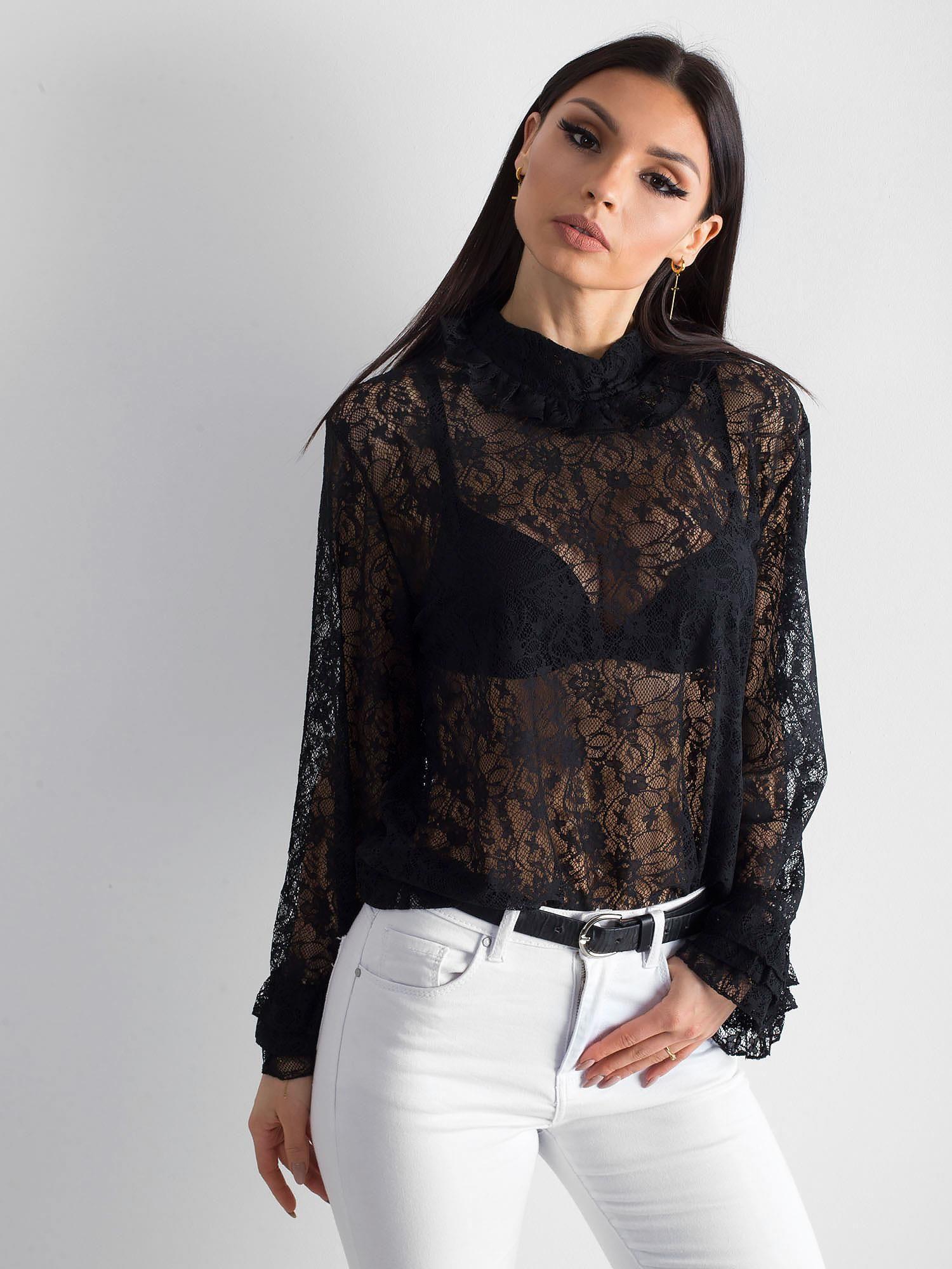 Koronkowa bluzka ze stójką czarna