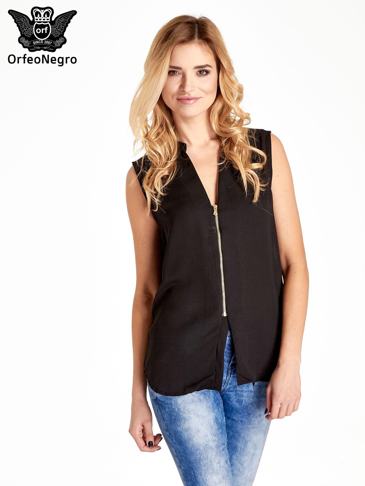 Czarna koszula V-neck z suwakiem                                  zdj.                                  1