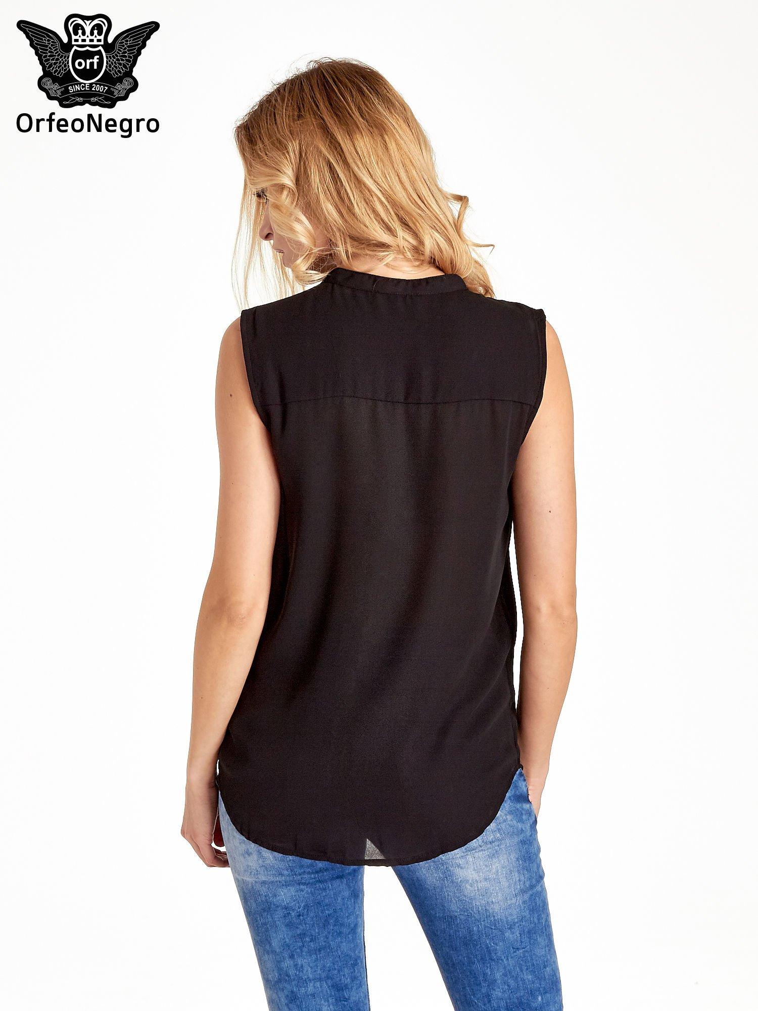 Czarna koszula V-neck z suwakiem                                  zdj.                                  4