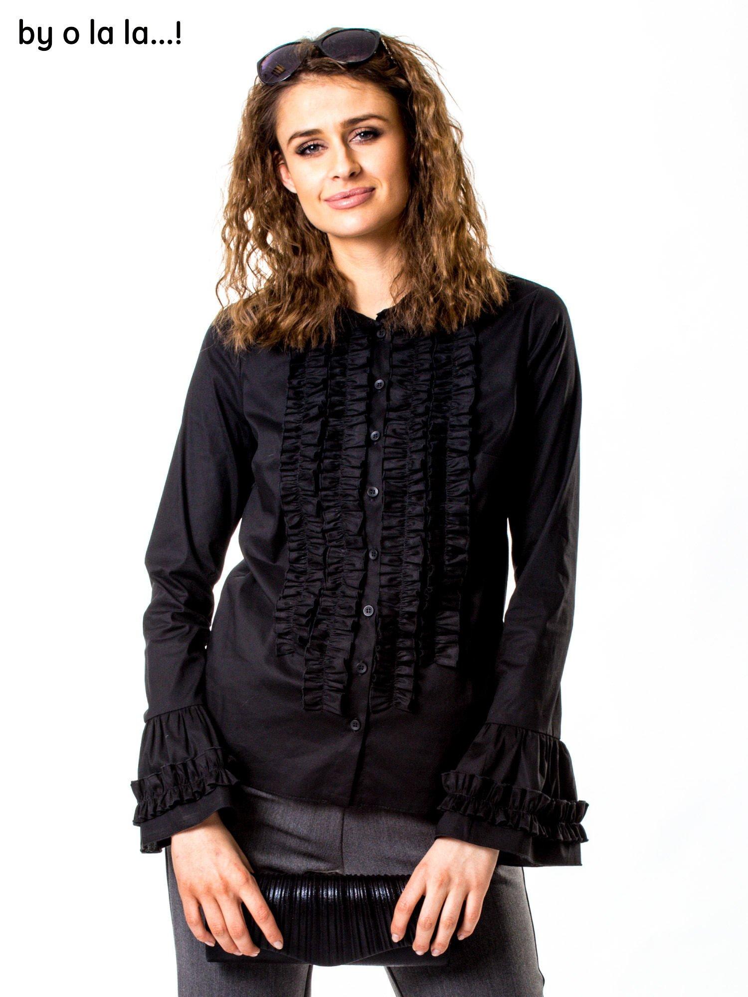 e3fdd0563d22fa Czarna koszula z żabotem BY O LA LA - Koszula klasyczna - sklep eButik.pl