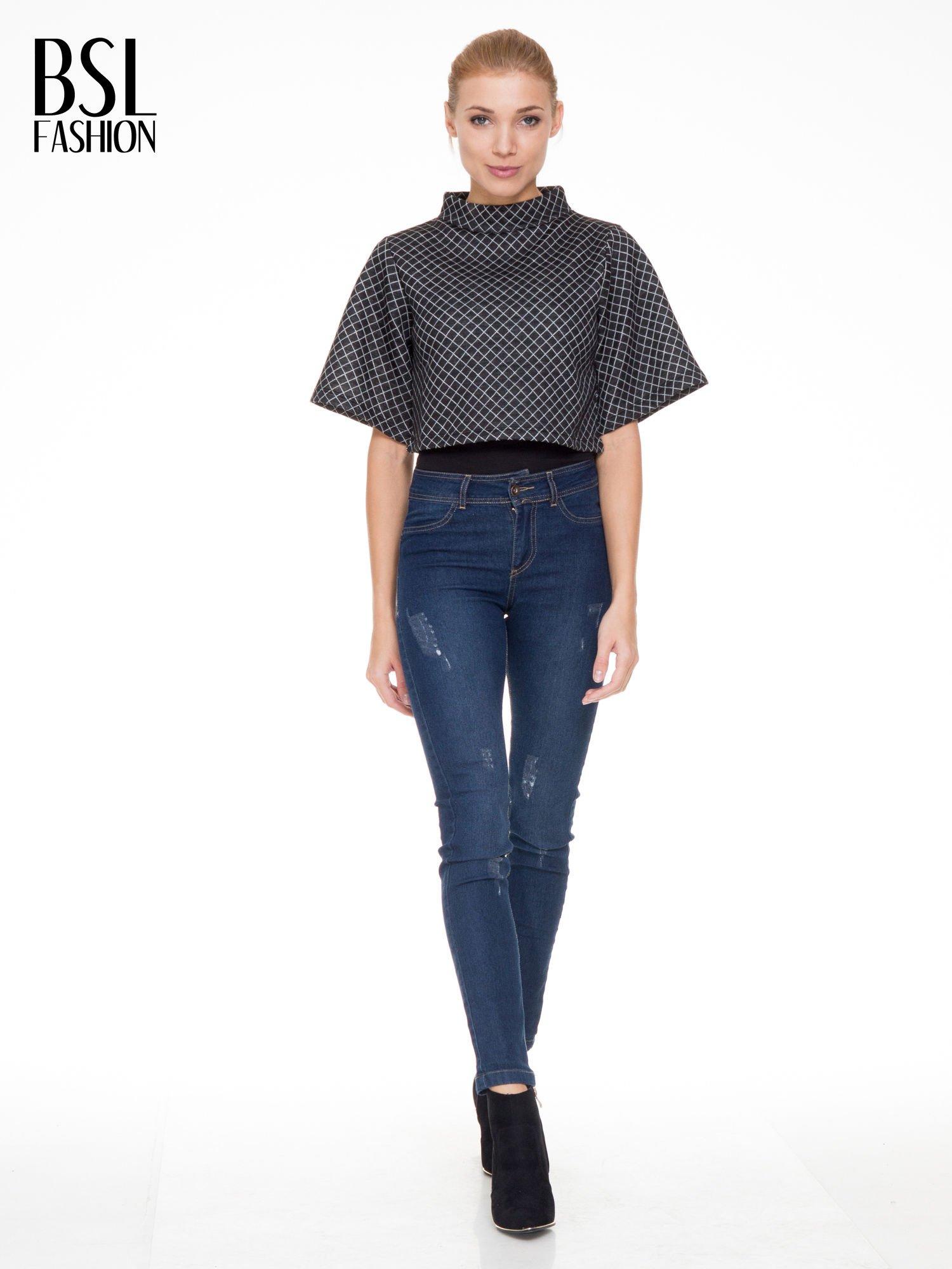 Czarna kraciasta bluzka z kloszowanymi rękawami i półgolfem                                  zdj.                                  2