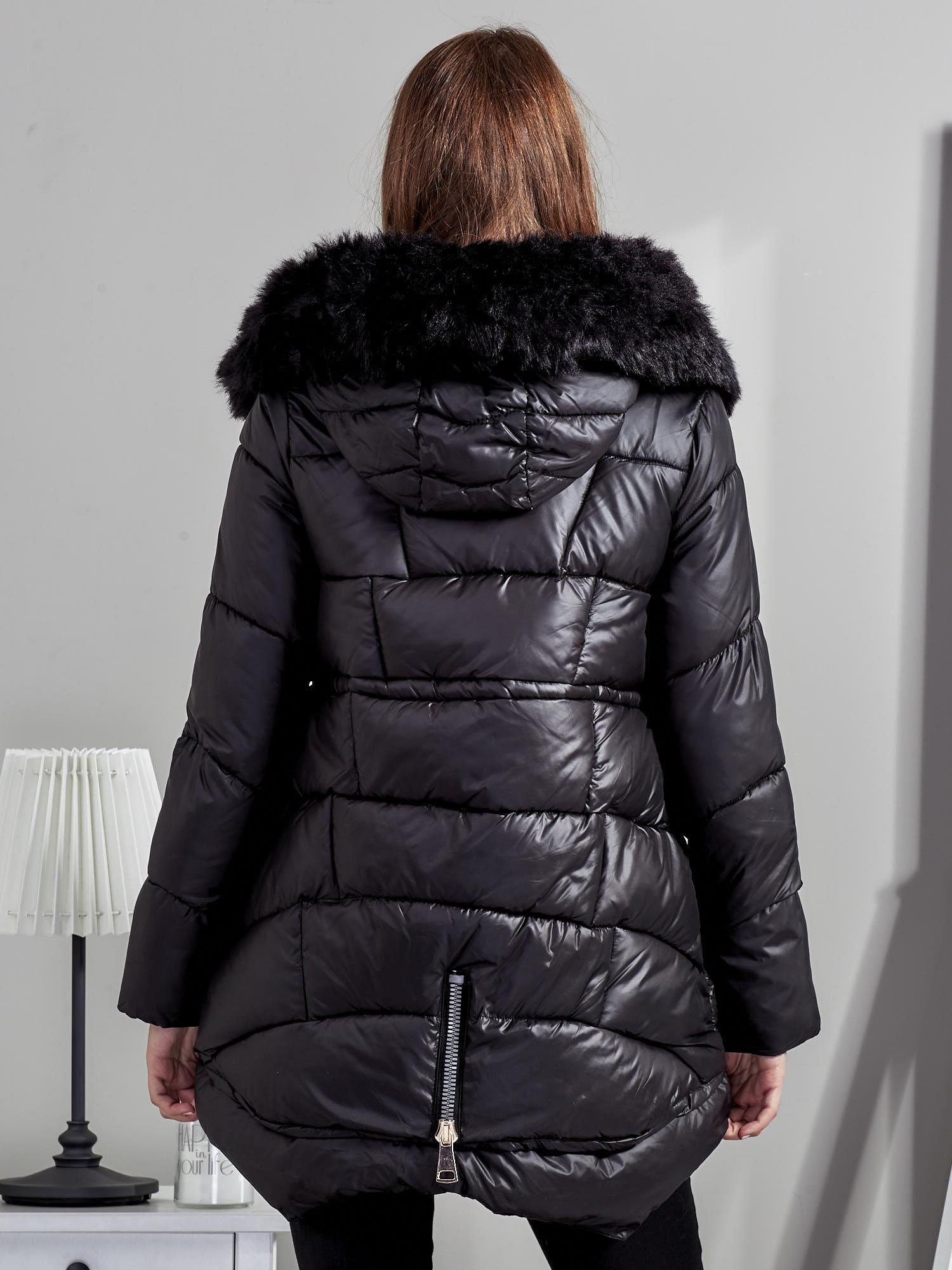 c71ac7261212a Czarna kurtka damska z ozdobnymi suwakami - Kurtka zimowa - sklep ...