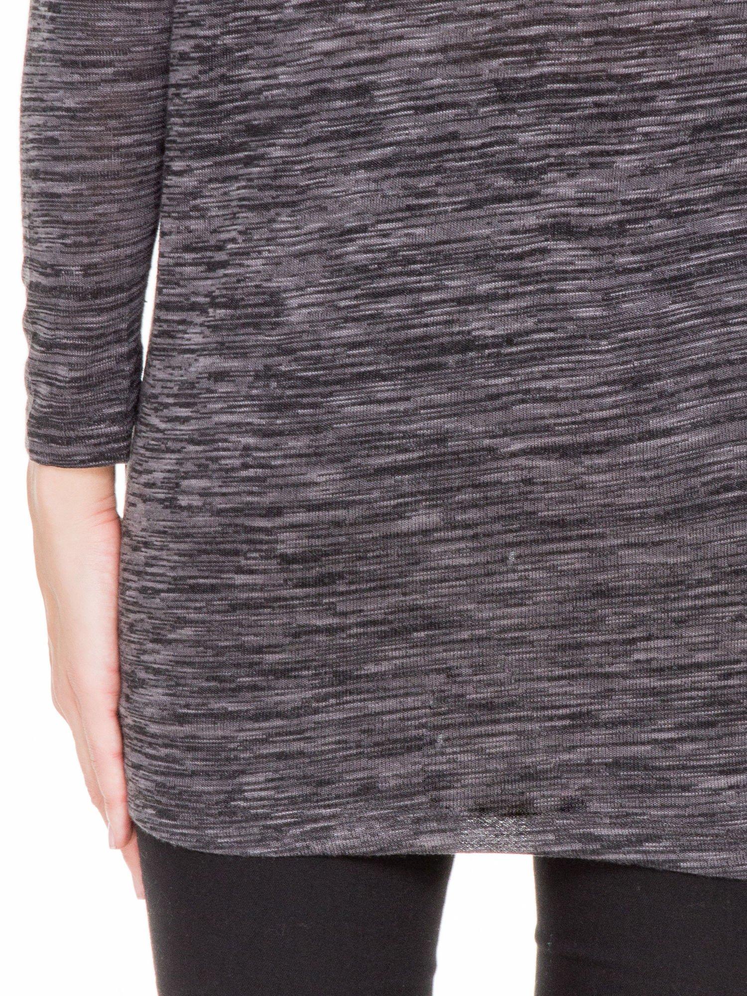 Czarna melanżowa bluzka z tiulowymi wstawkami na ramionach                                  zdj.                                  7