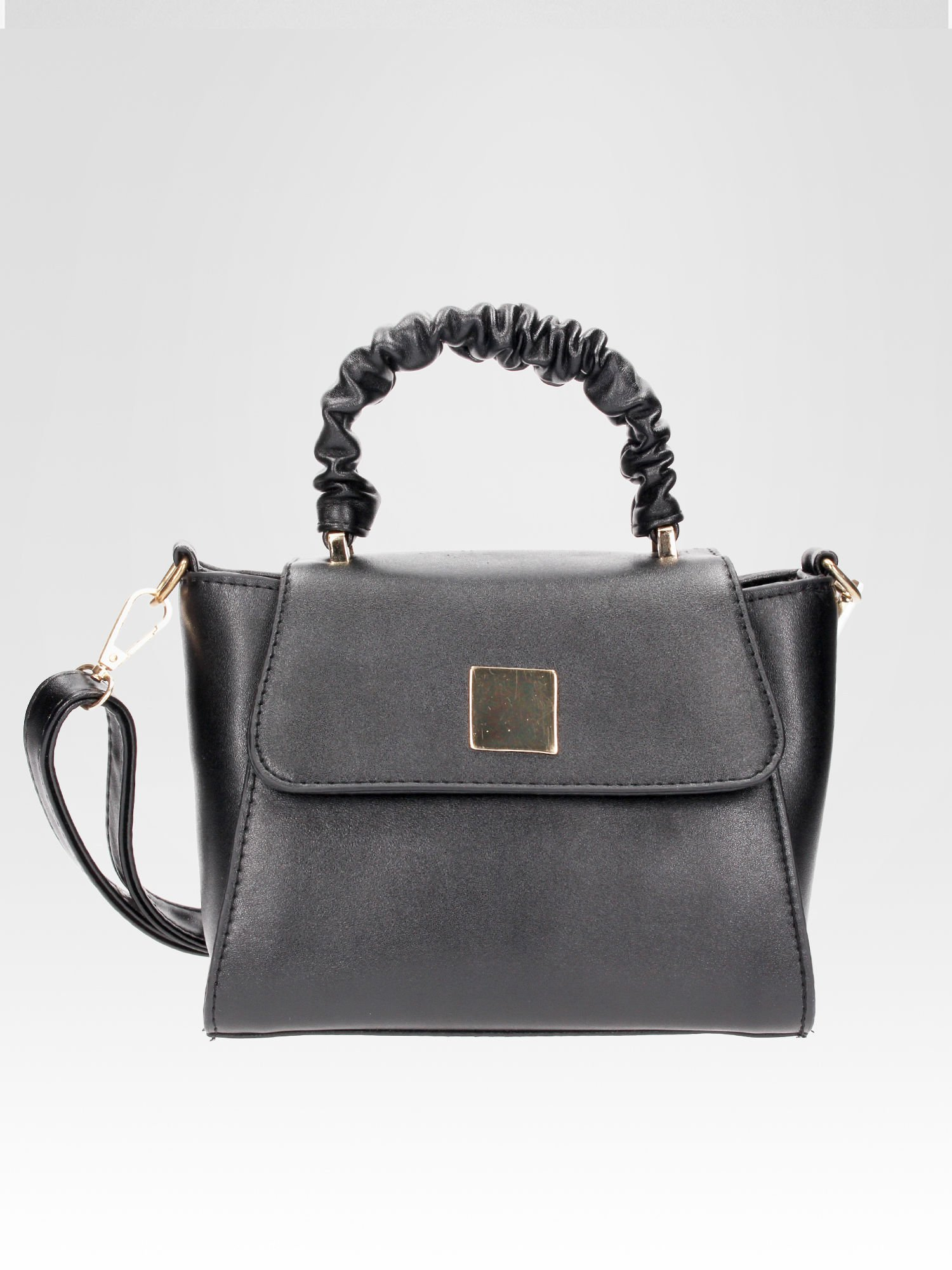 Czarna mini torebka kuferek z marszczoną rączką                                  zdj.                                  4