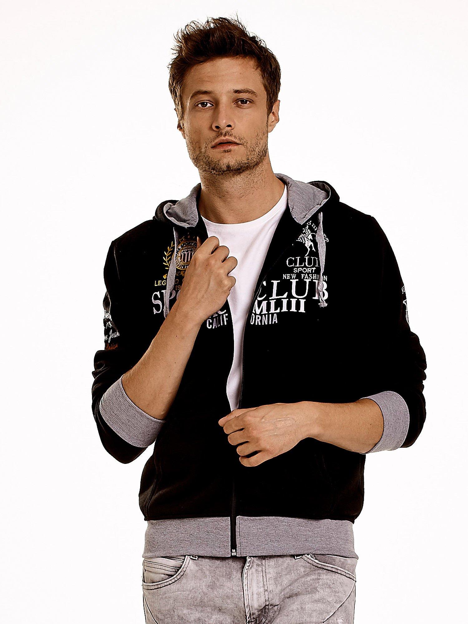 Czarna ocieplana bluza męska z kapturem i napisem SPORT CLUB                                  zdj.                                  4