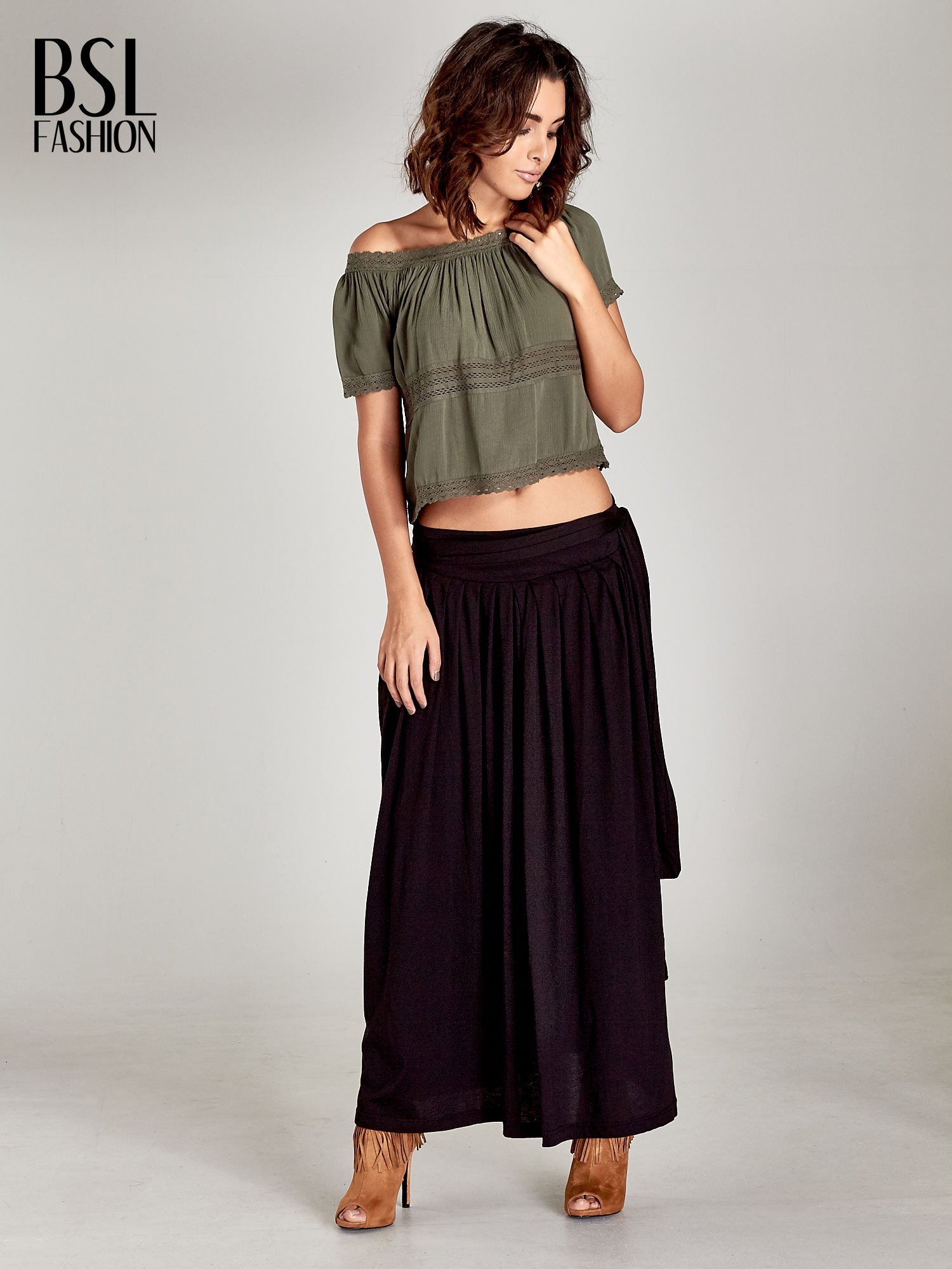 Czarna plisowana spódnica maxi                                  zdj.                                  2