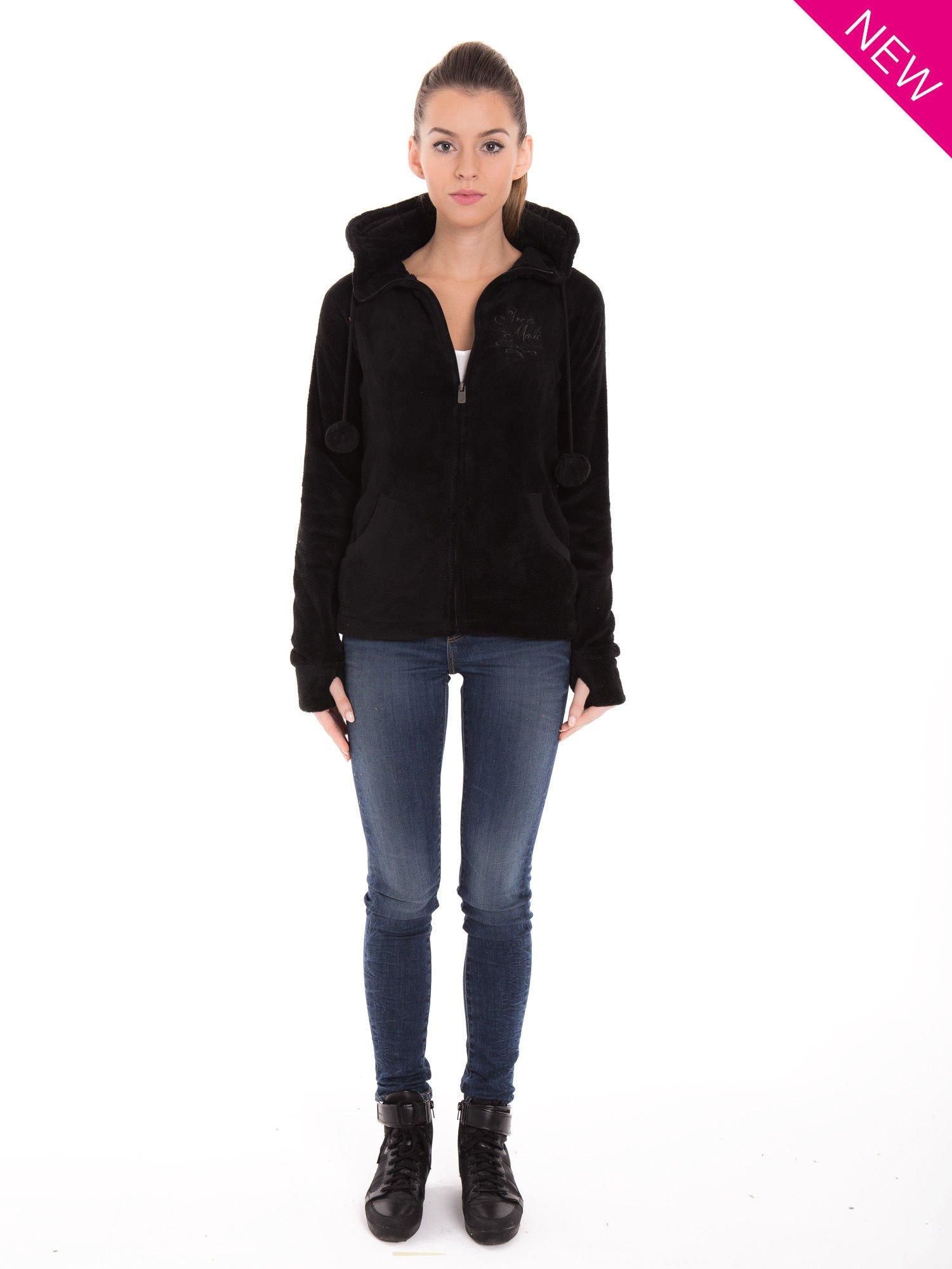 Czarna pluszowa bluza z kapturem z uszkami i pomponami                                  zdj.                                  5