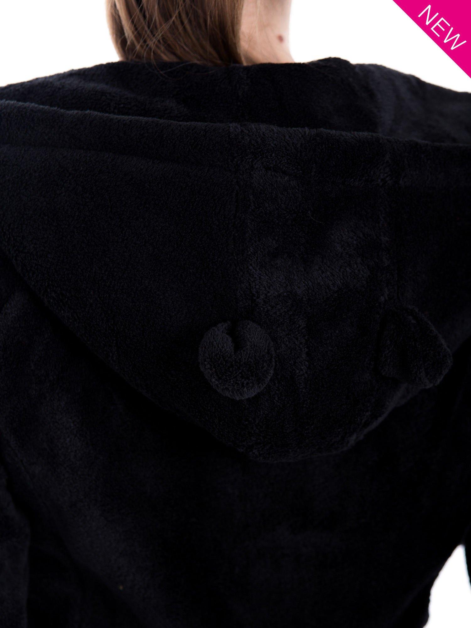 Czarna pluszowa bluza z kapturem z uszkami i pomponami                                  zdj.                                  9