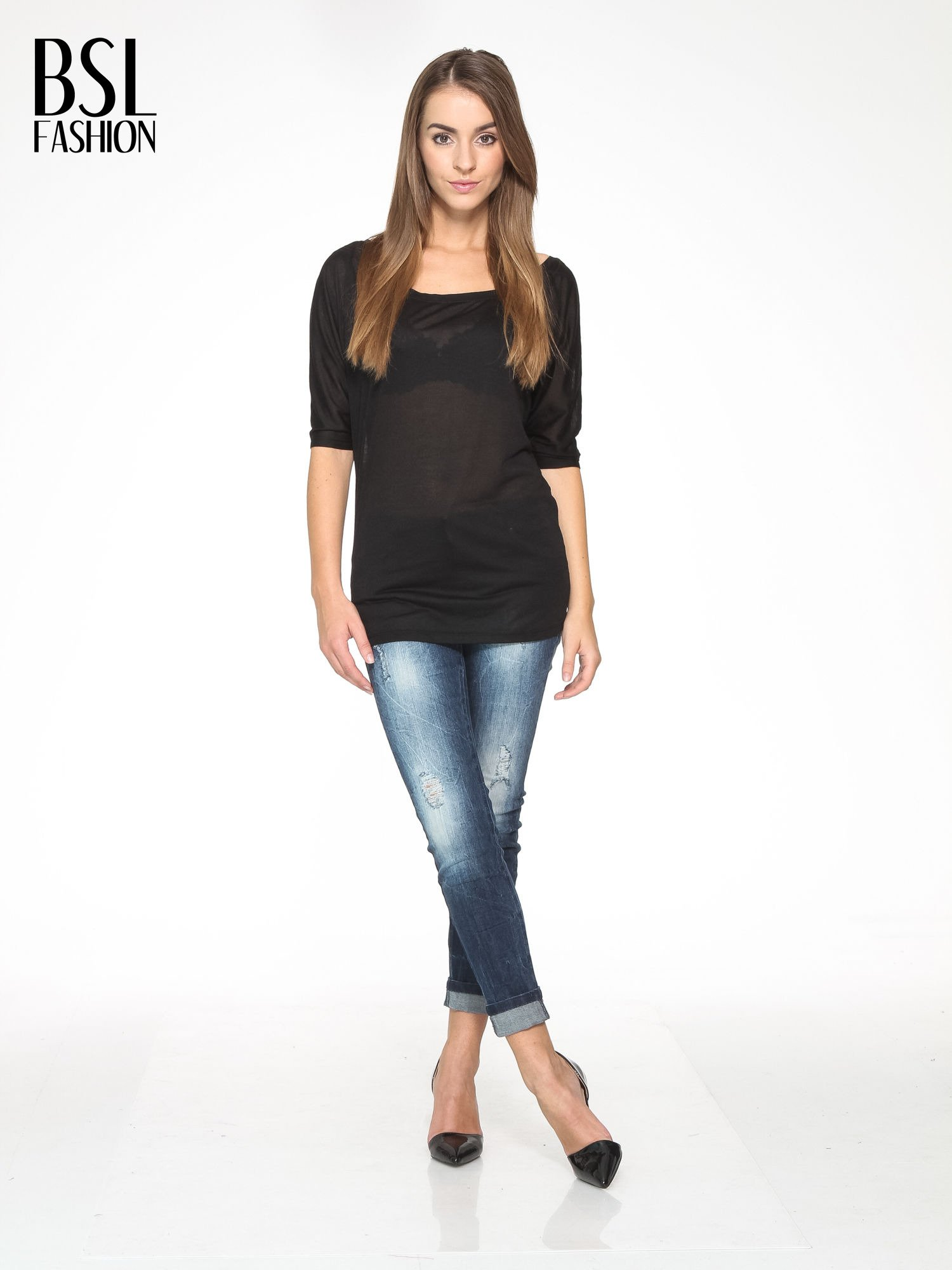 Czarna półtransparentna bluzka z łódkowym dekoltem i rękawami 3/4                                  zdj.                                  2