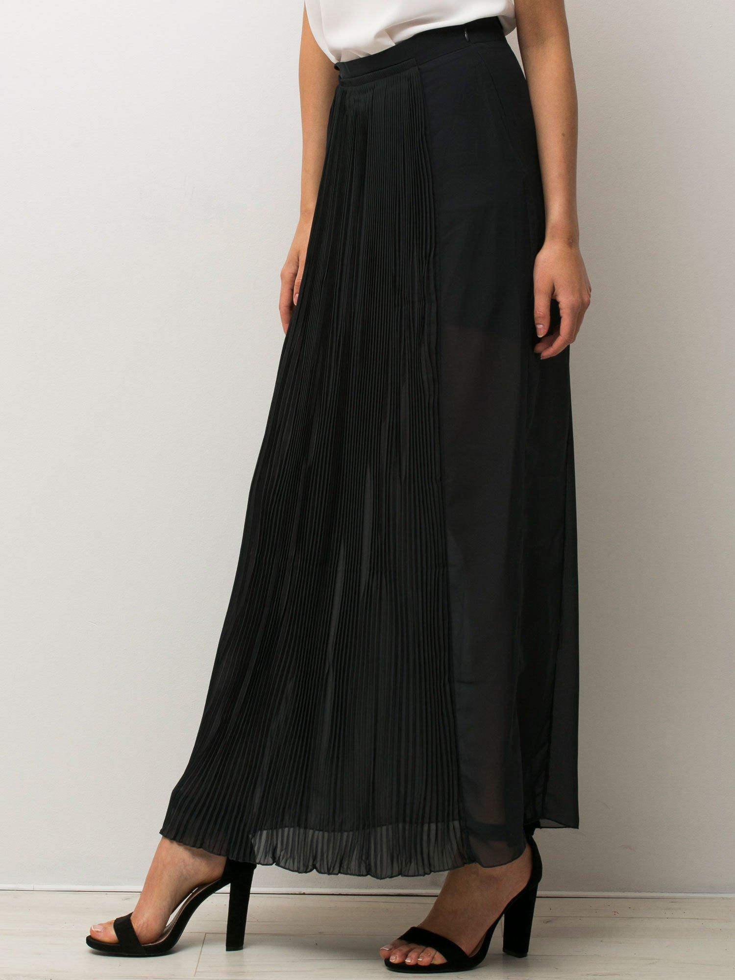 Czarna półtransparentna spódnica maxi plisowana                                  zdj.                                  3