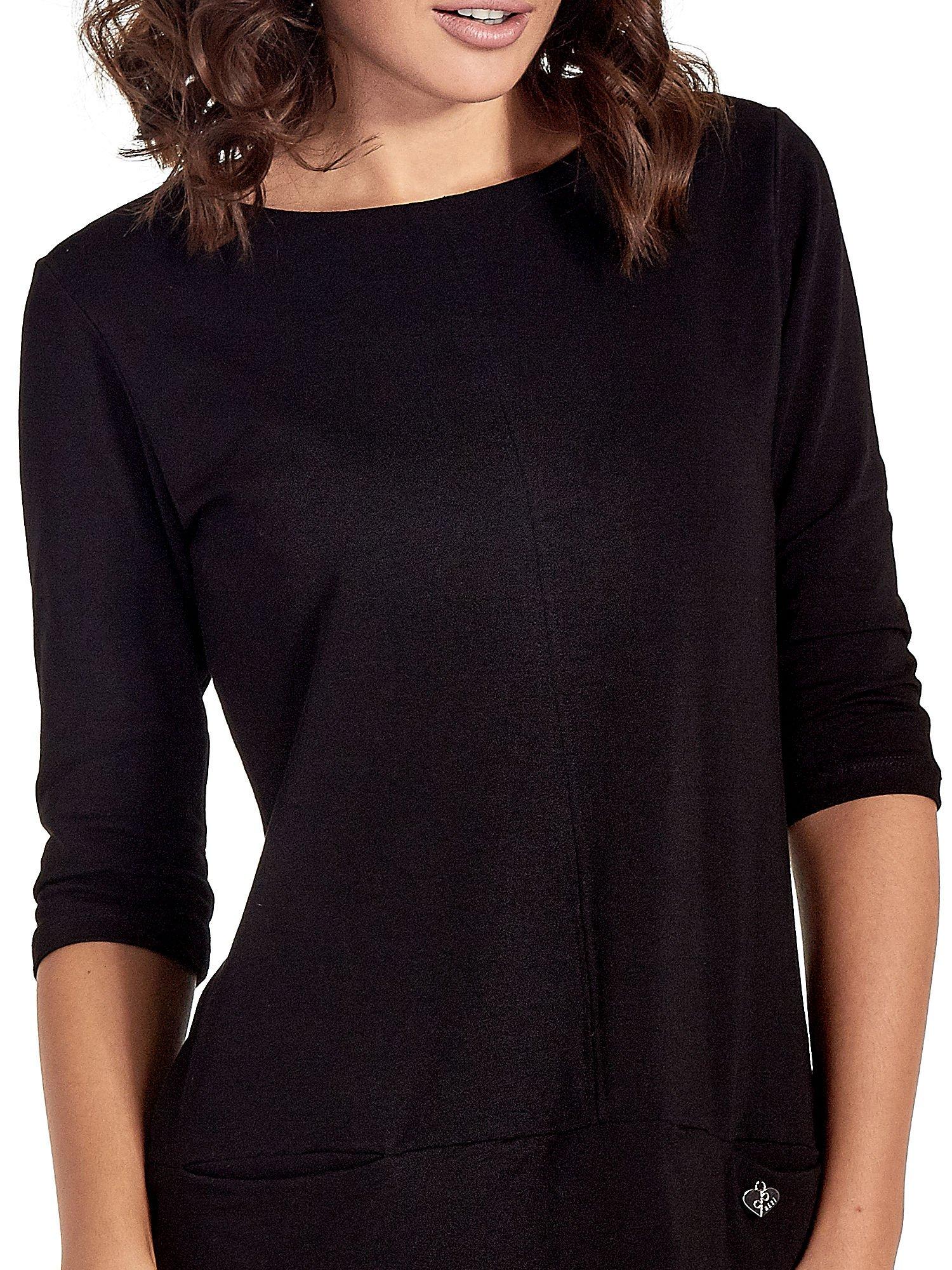Czarna prosta sukienka z kieszeniami                                   zdj.                                  5
