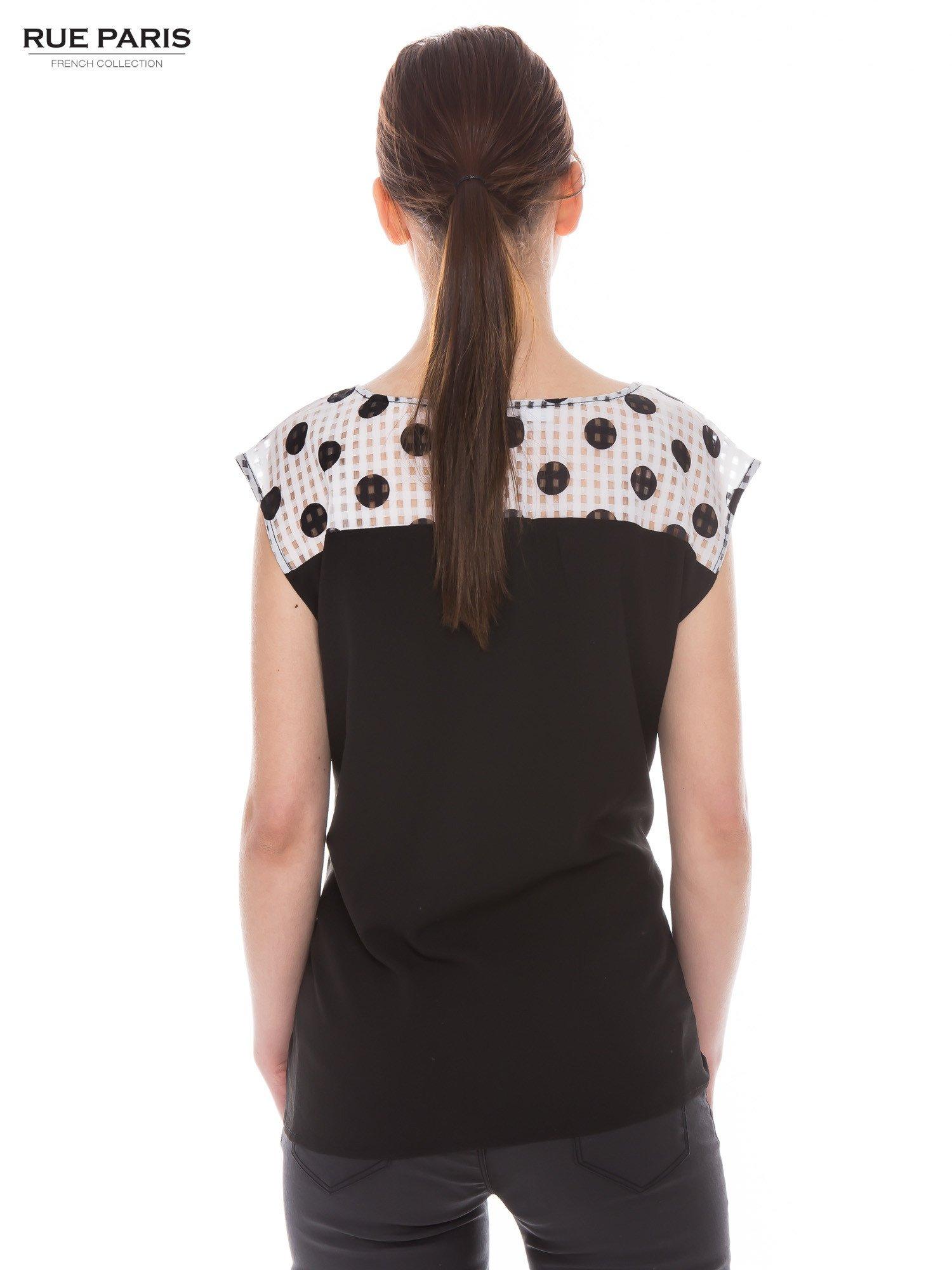 Czarna retro koszula z karczkiem w grochy                                  zdj.                                  3