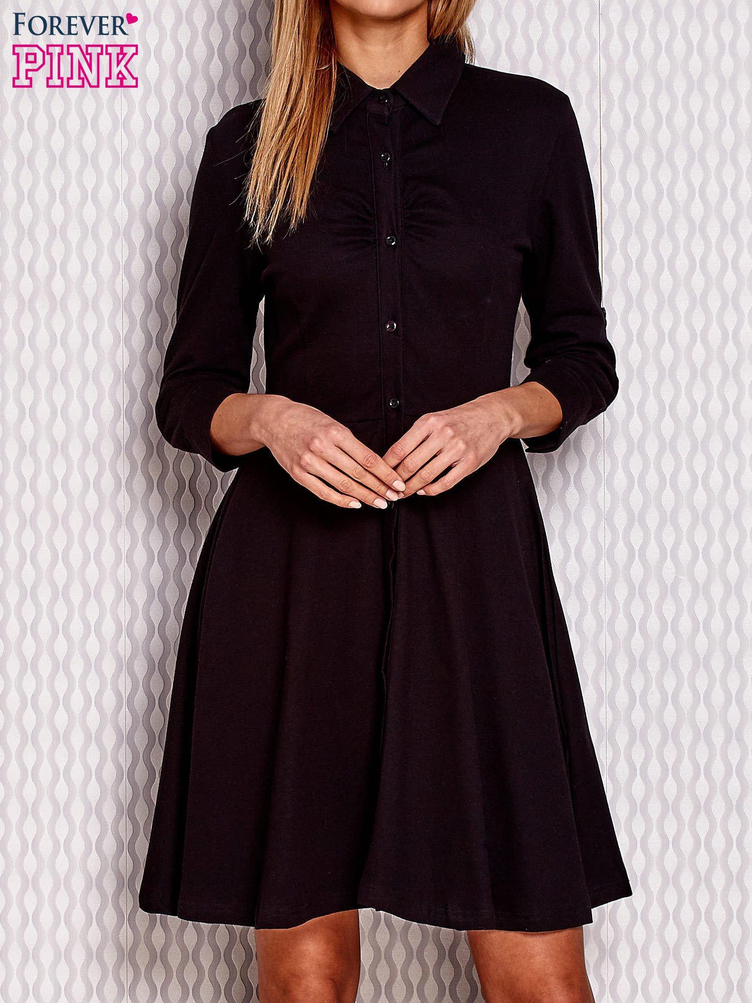 7b3bee7cb4 Czarna rozkloszowana sukienka na guziki - Sukienka na co dzień ...