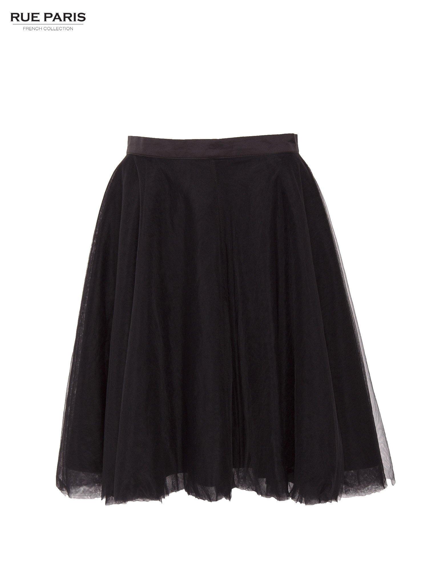 5799360b Czarna rozkloszowana tiulowa spódnica