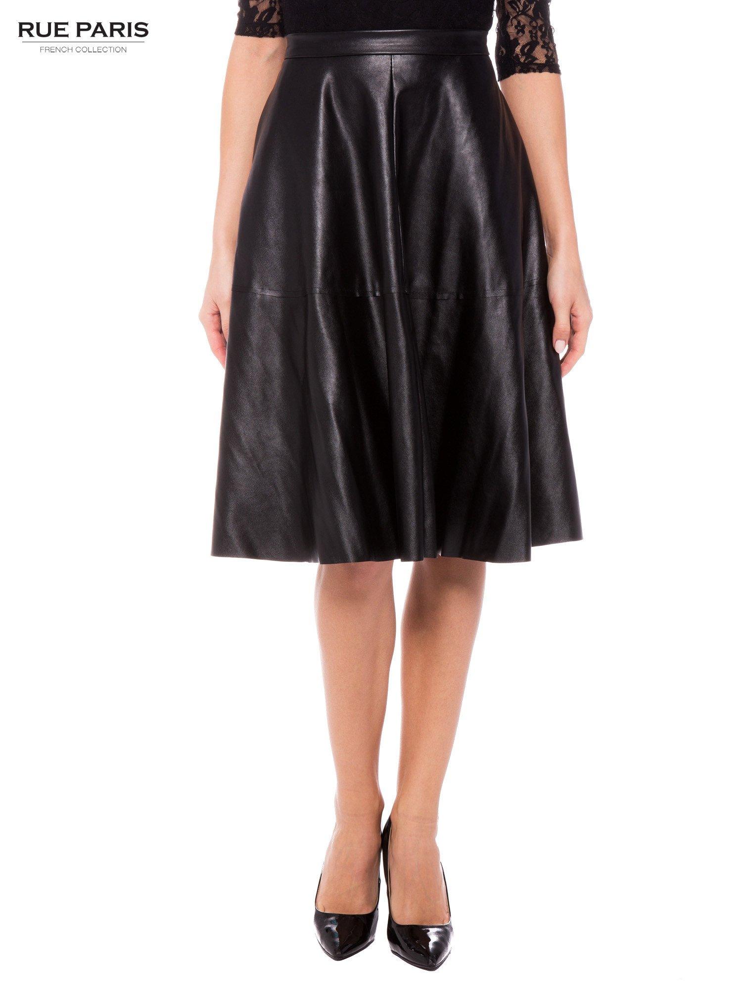 3c434d02e163d2 Czarna skórzana spódnica midi szyta z półkola - Spódnica ...