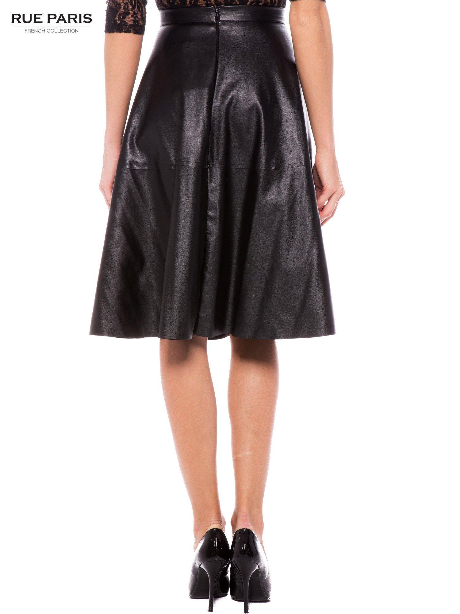 Czarna skórzana spódnica midi szyta z półkola                                  zdj.                                  3