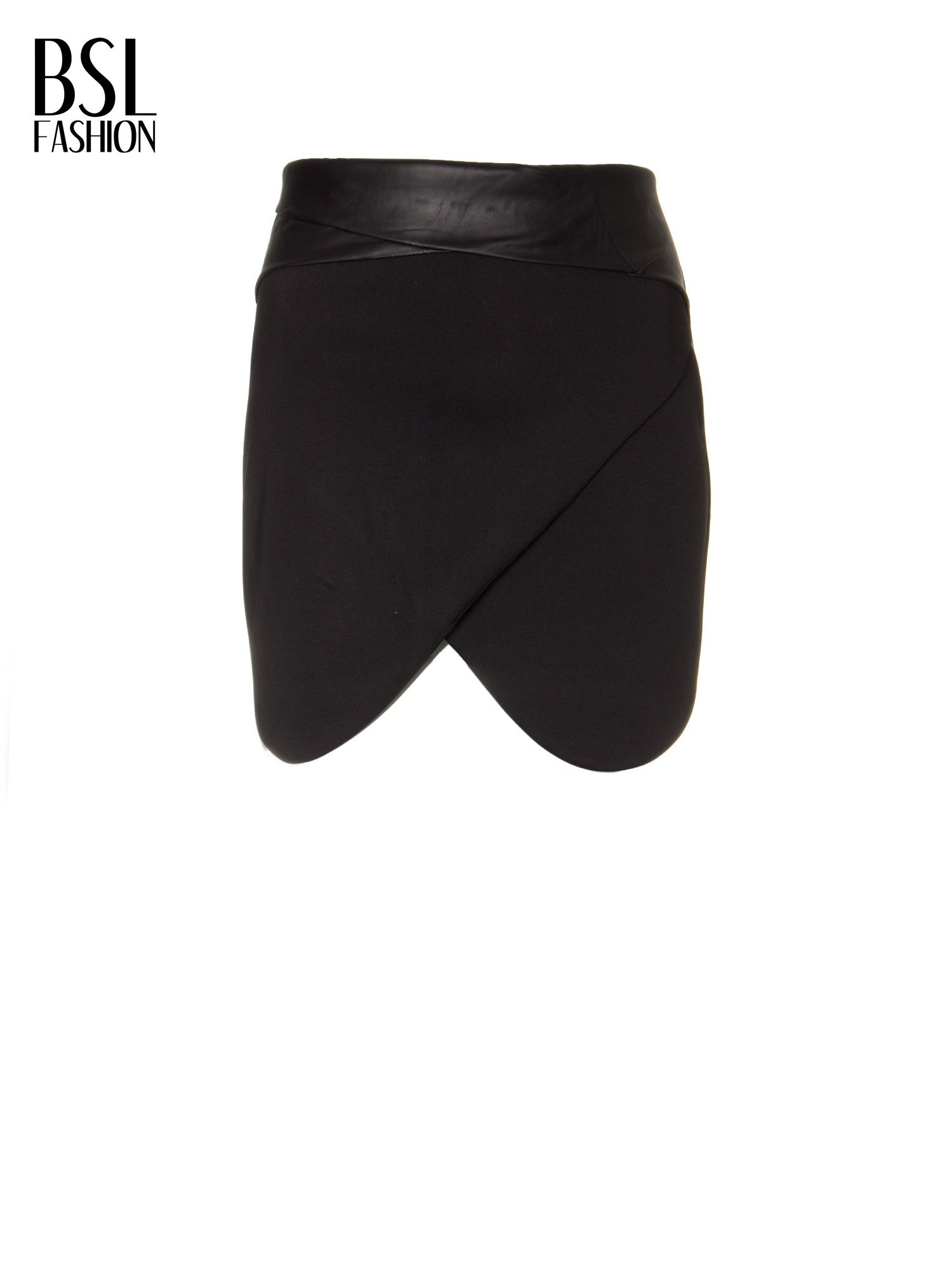 Czarna spódnica kopertowa ze skórzanym pasem                                  zdj.                                  5