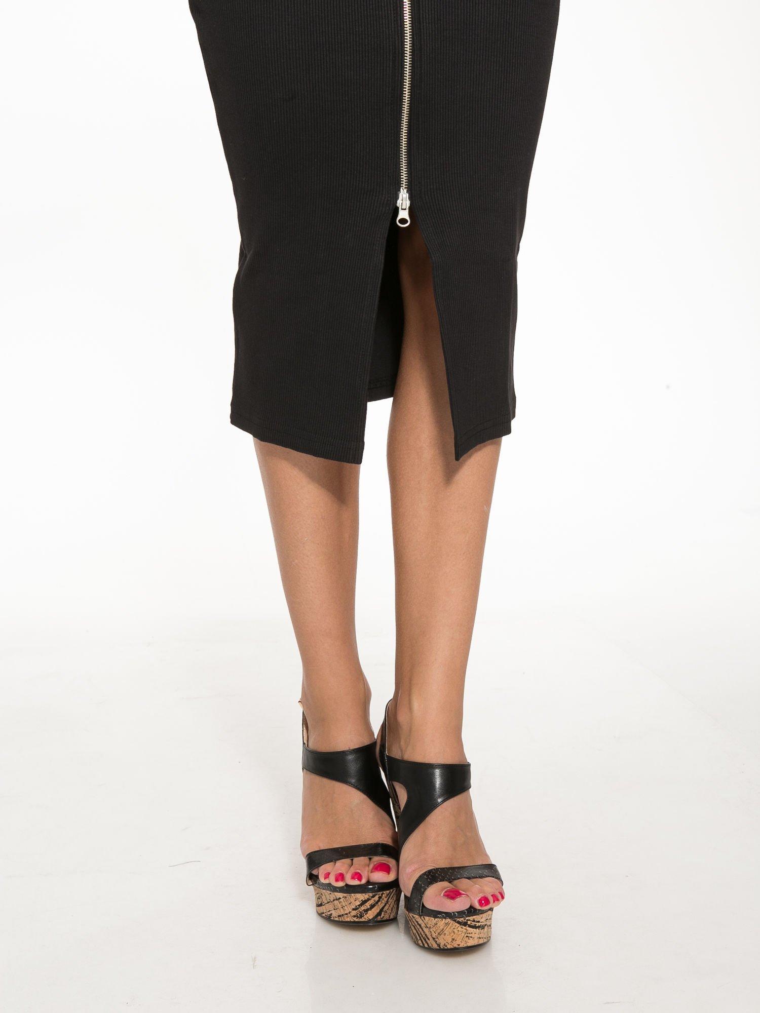 Czarna spódnica midi z suwakiem z przodu                                  zdj.                                  7