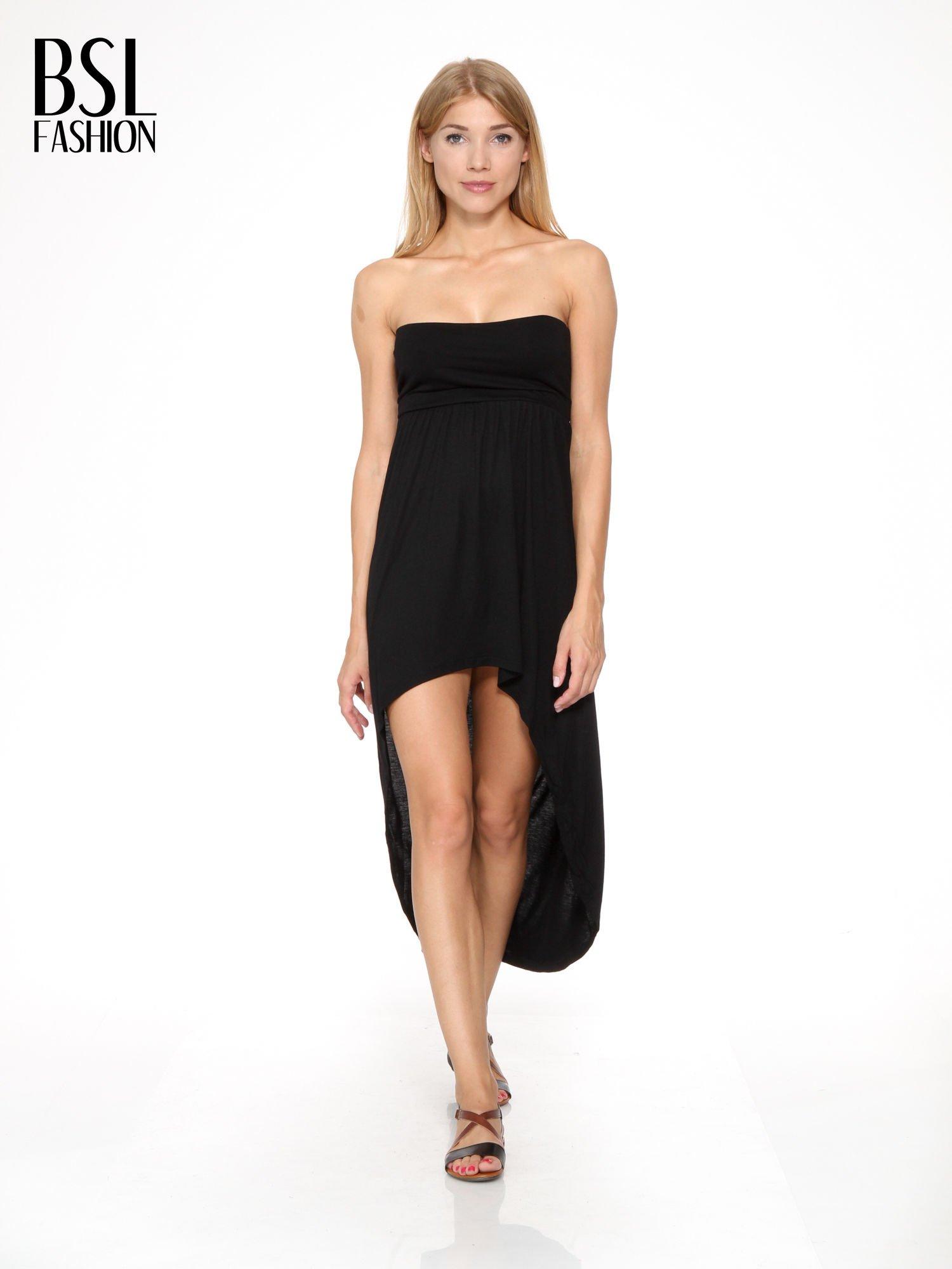 Czarna sukienka bez ramiączek z dłuższym tyłem                                  zdj.                                  1