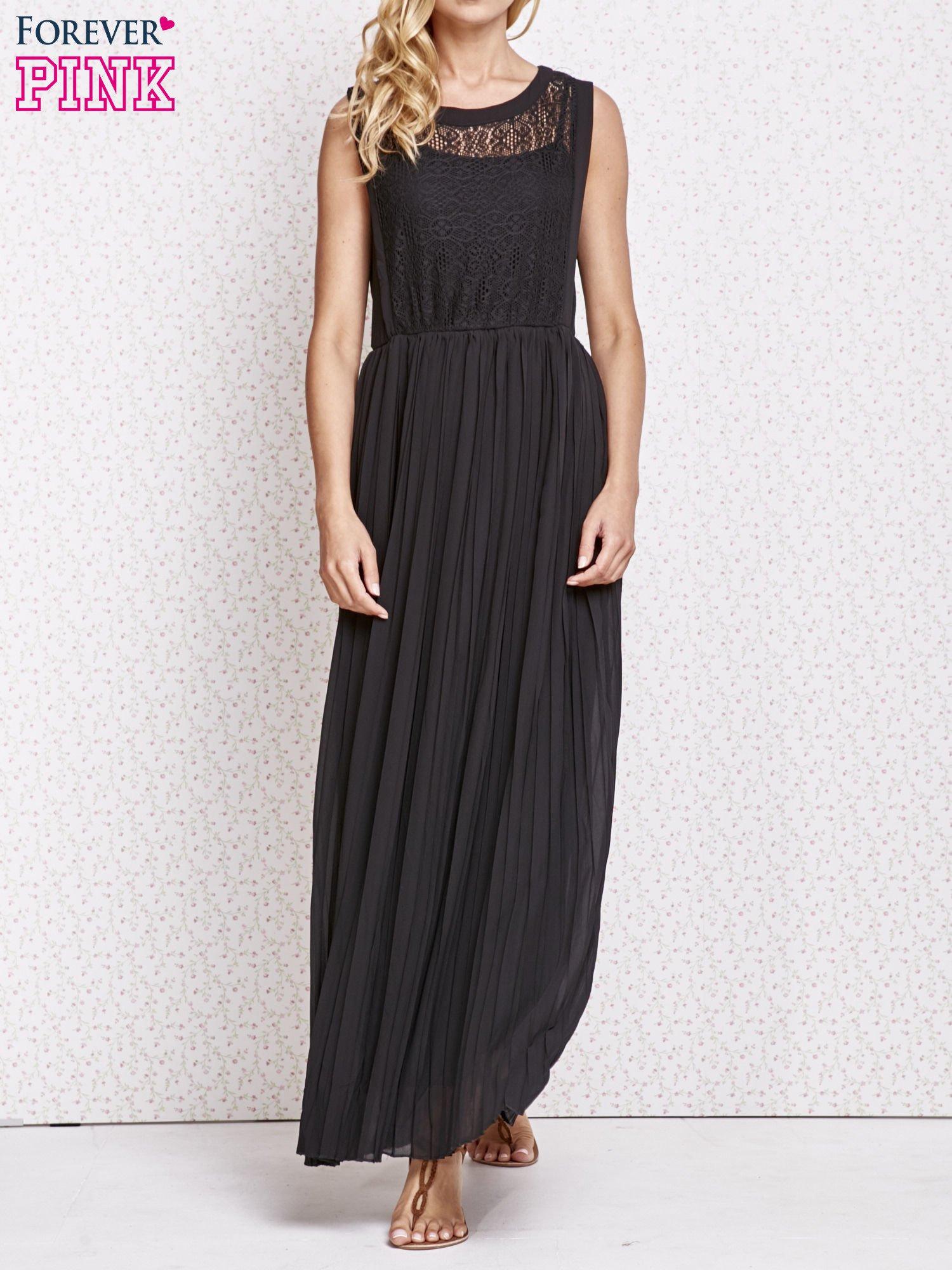 Czarna sukienka maxi z koronkowym przodem                                  zdj.                                  1