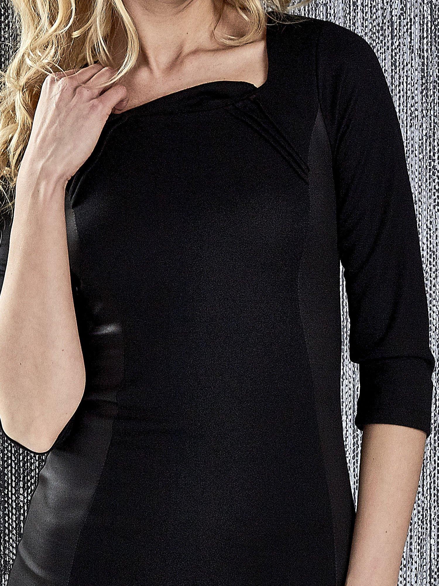 Czarna sukienka tuba ze skórzanymi modułami                                  zdj.                                  7