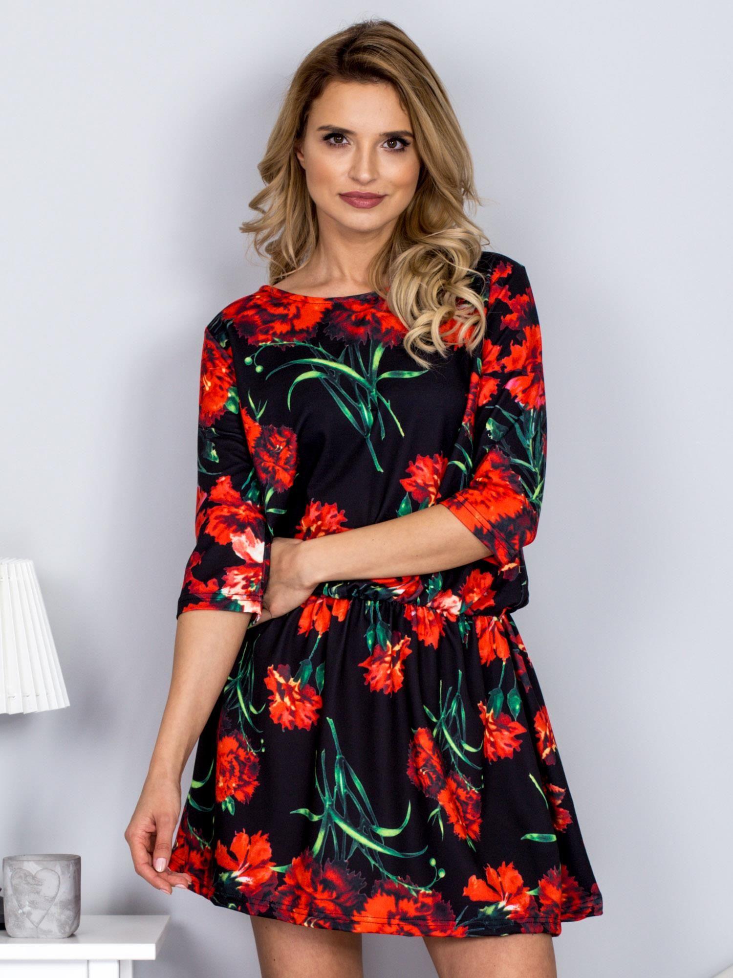 f151de1b79366f ... 7c82b5ab98 Czarna sukienka w czerwone kwiaty - Sukienka koktajlowa -  sklep .
