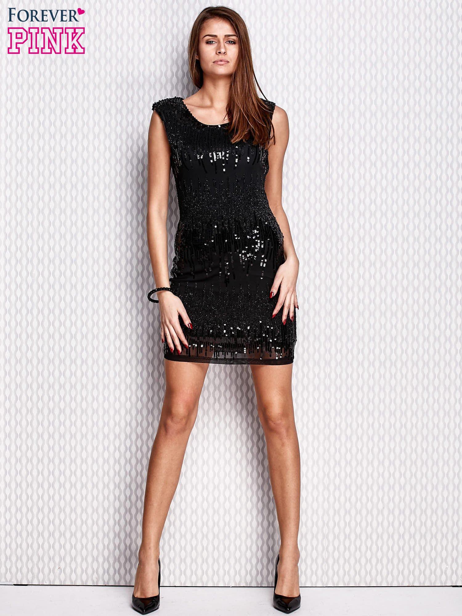 ac608b1c8f Czarna sukienka z aplikacją z koralików i cekinów - Sukienka ...