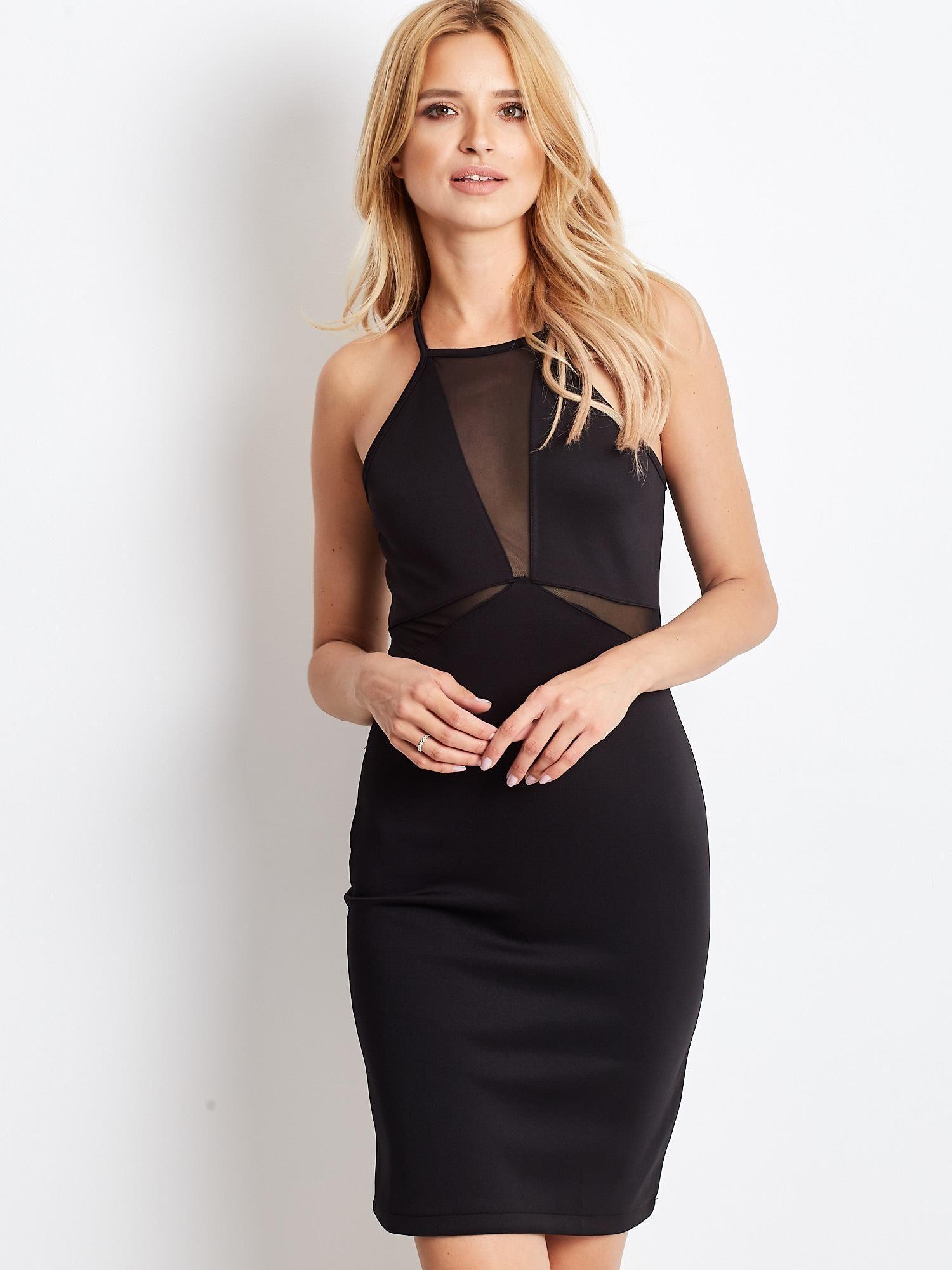 34a3ea739f Czarna sukienka z dekoltem halter i siateczkowymi wstawkami ...