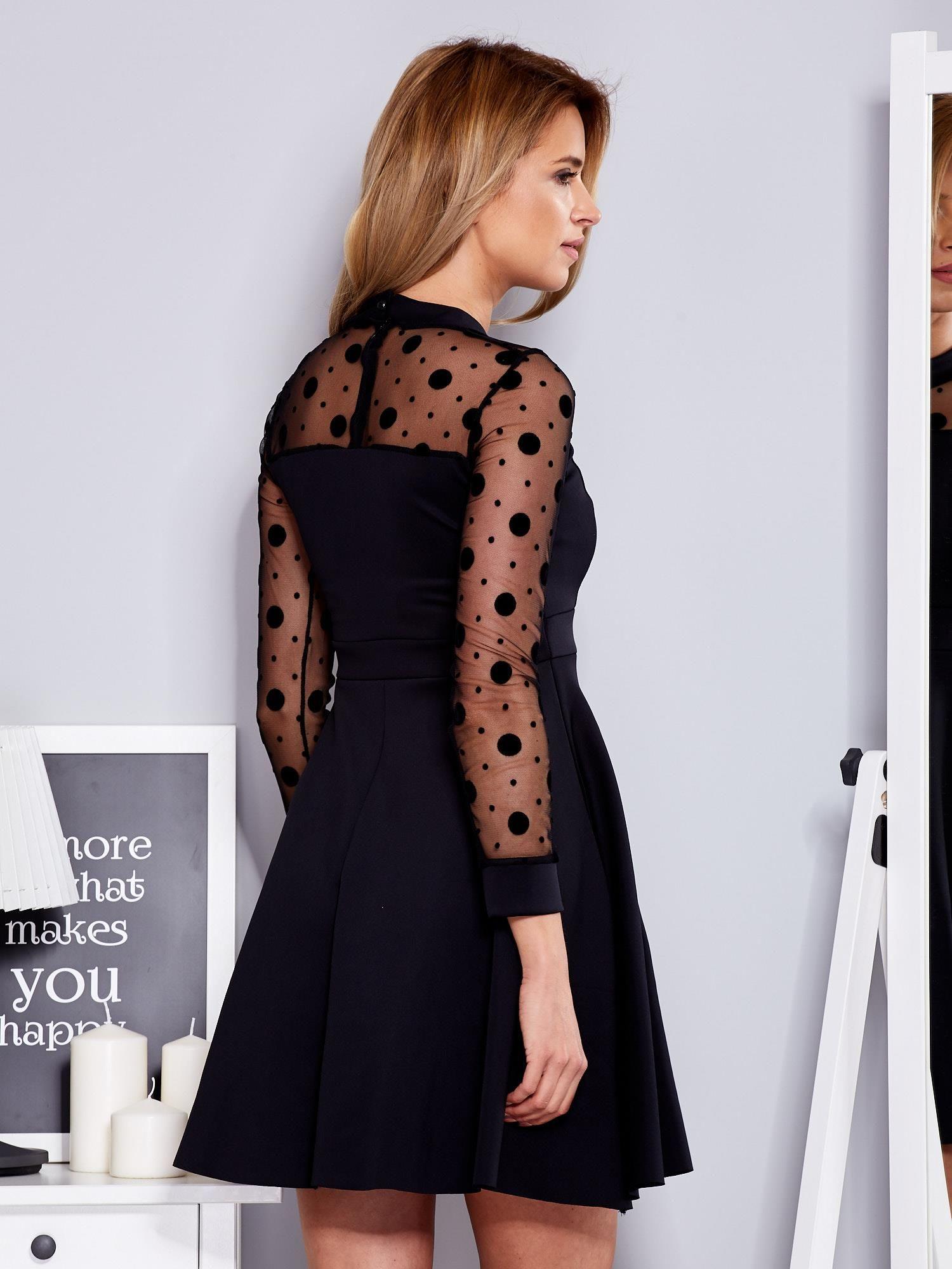 bd9a110c4d Czarna sukienka z rękawami w grochy - Sukienka koktajlowa - sklep eButik.pl