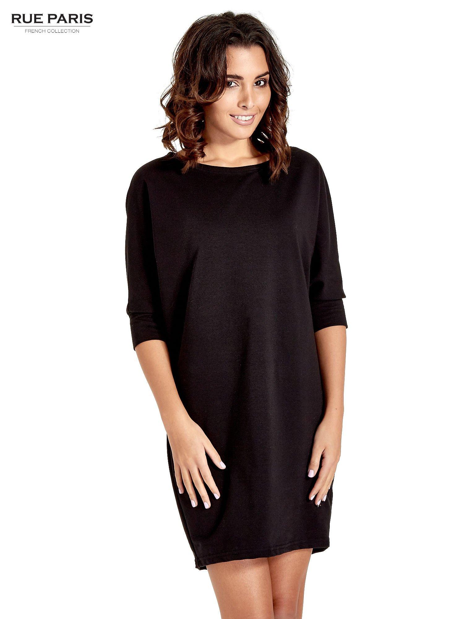 Czarna sukienka z rękawem przed łokieć                                  zdj.                                  1