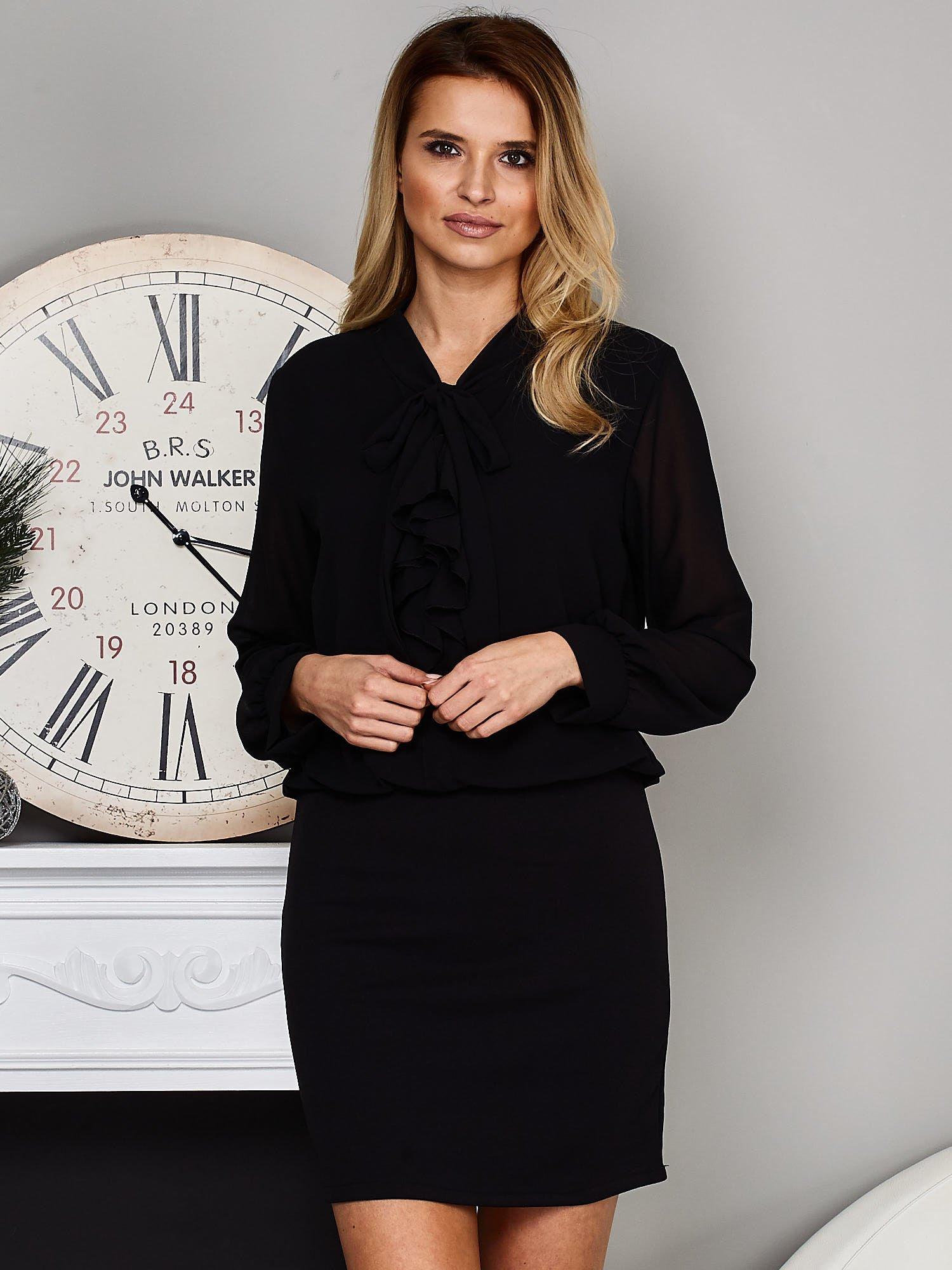 c693244155 Czarna sukienka z żabotem - Sukienka koktajlowa - sklep eButik.pl