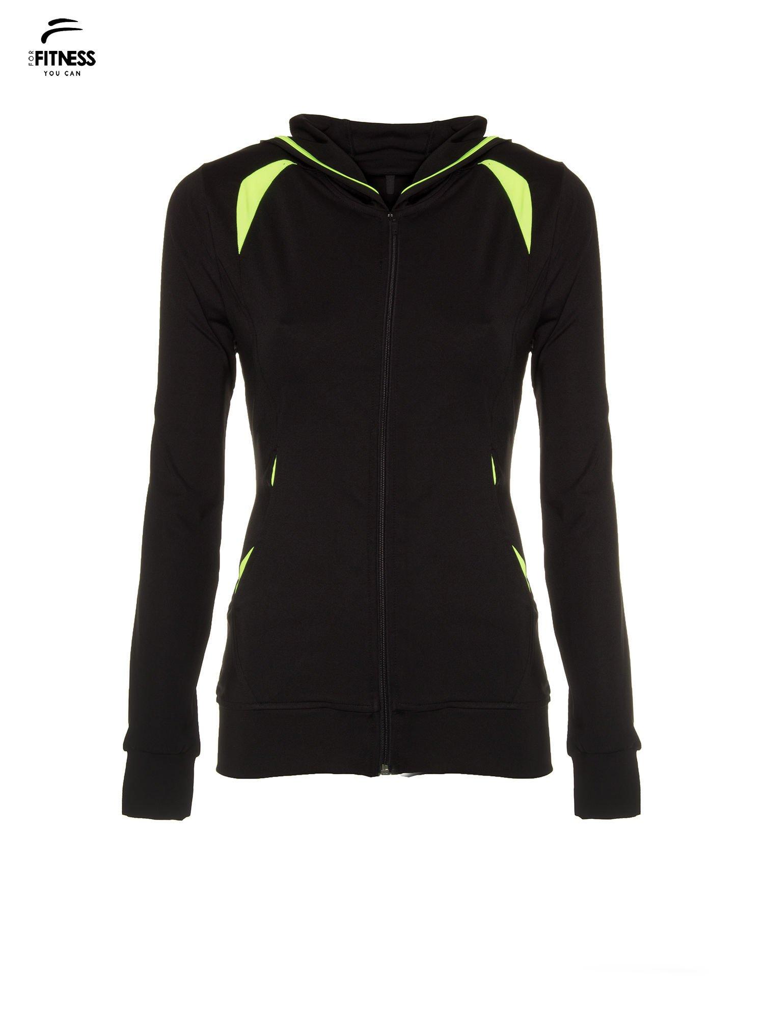 Czarna termoaktywna bluza do biegania z kapturem i fluozielonymi wstawkami ♦ Performance RUN                                  zdj.                                  6