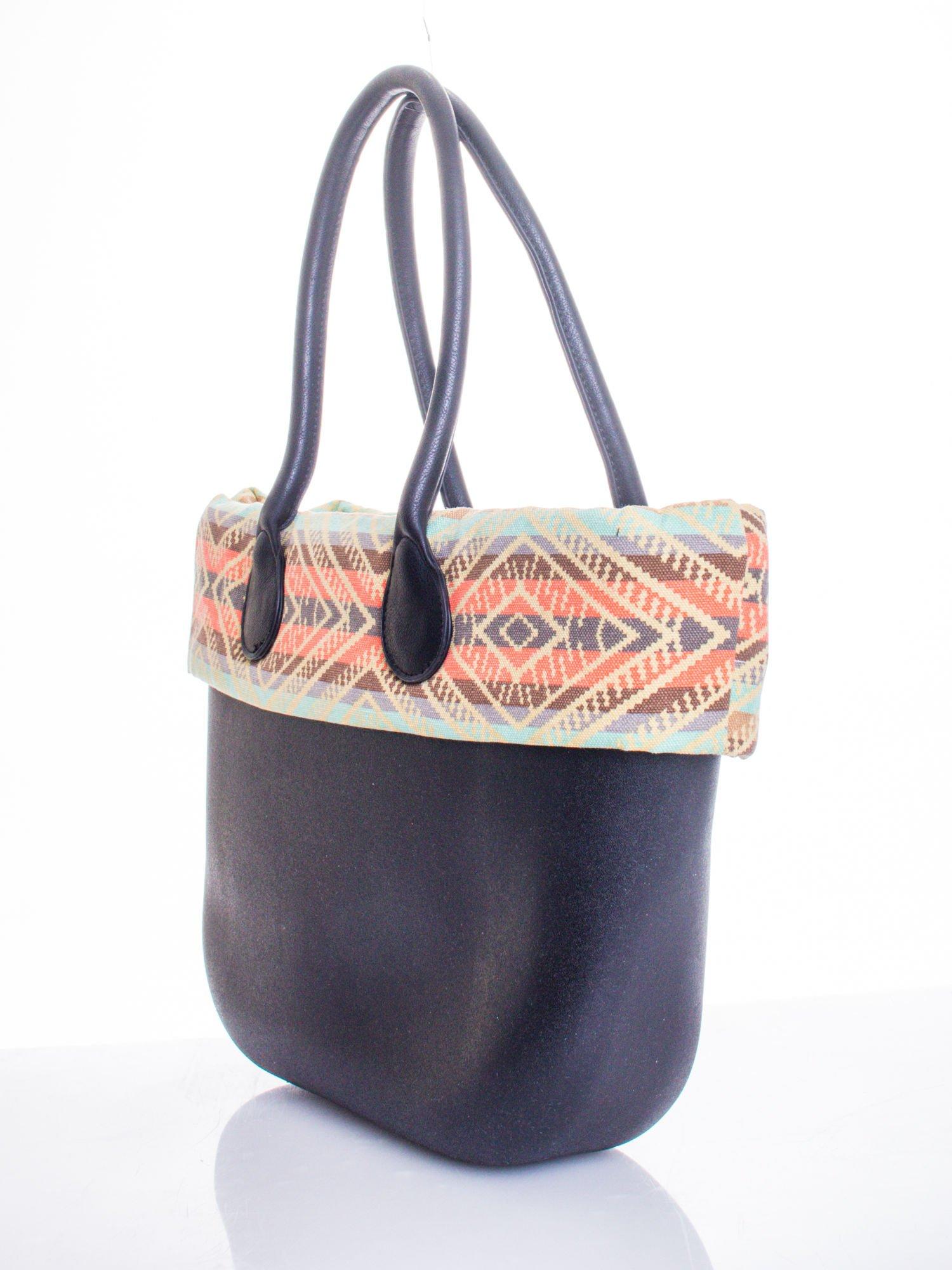 Czarna torba gumowa z motywem azteckim                                  zdj.                                  3