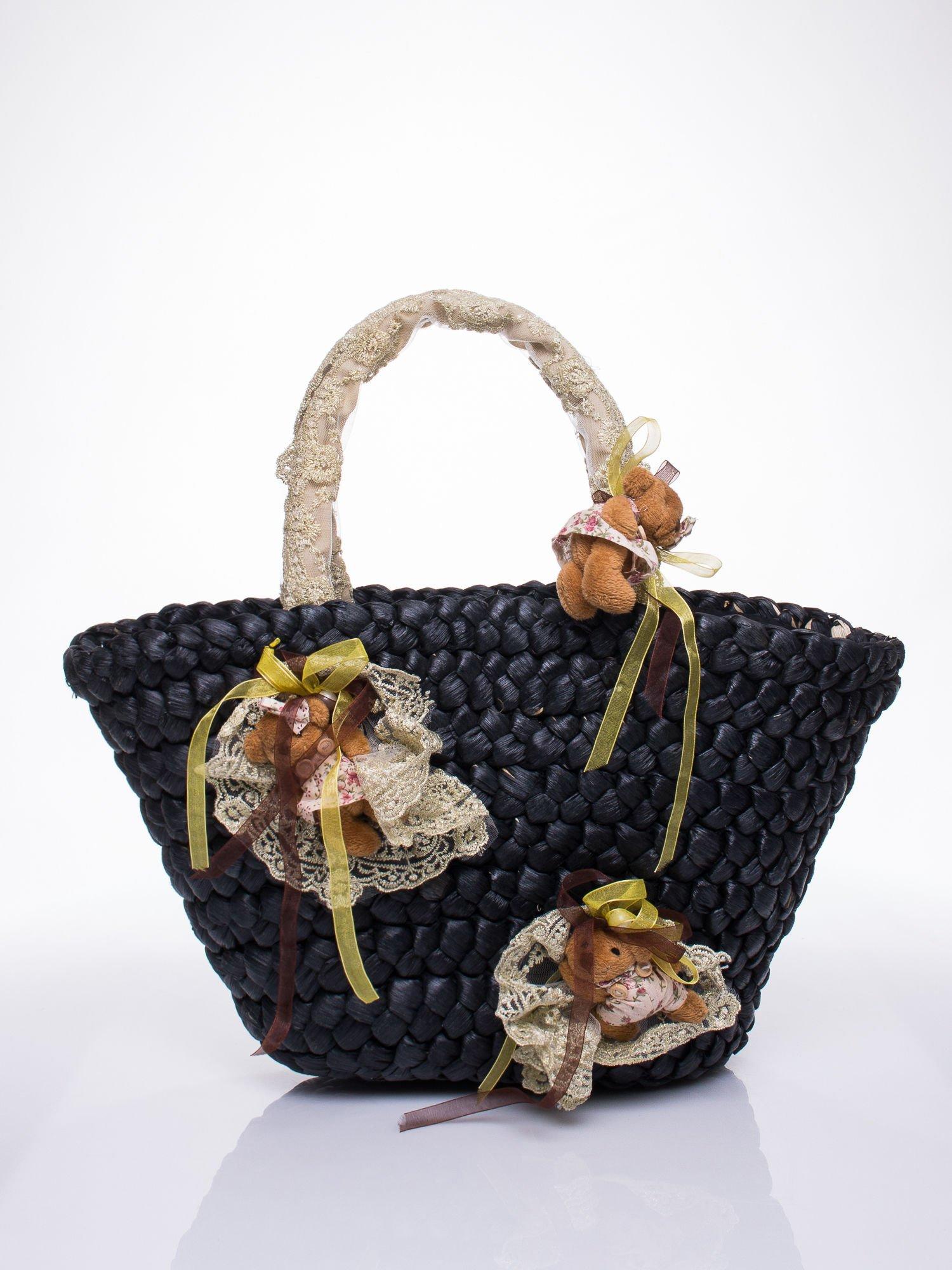 Czarna torba koszyk plażowy z kwiatami                                  zdj.                                  2