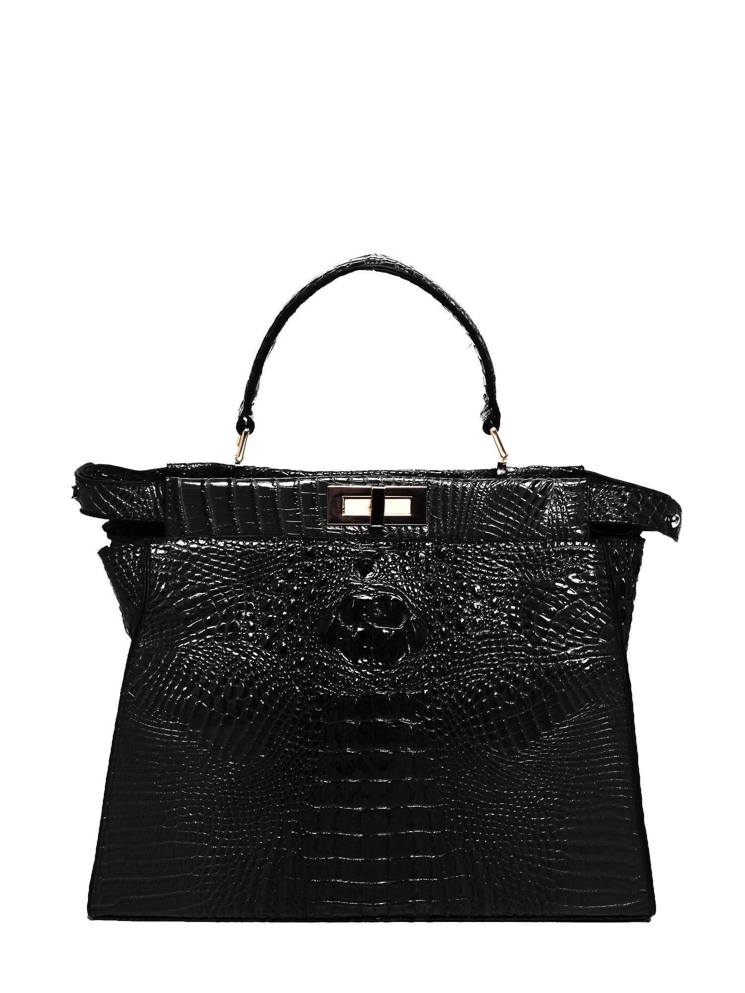 Czarna torba miejska z efektem krokodylej skóry                                  zdj.                                  1
