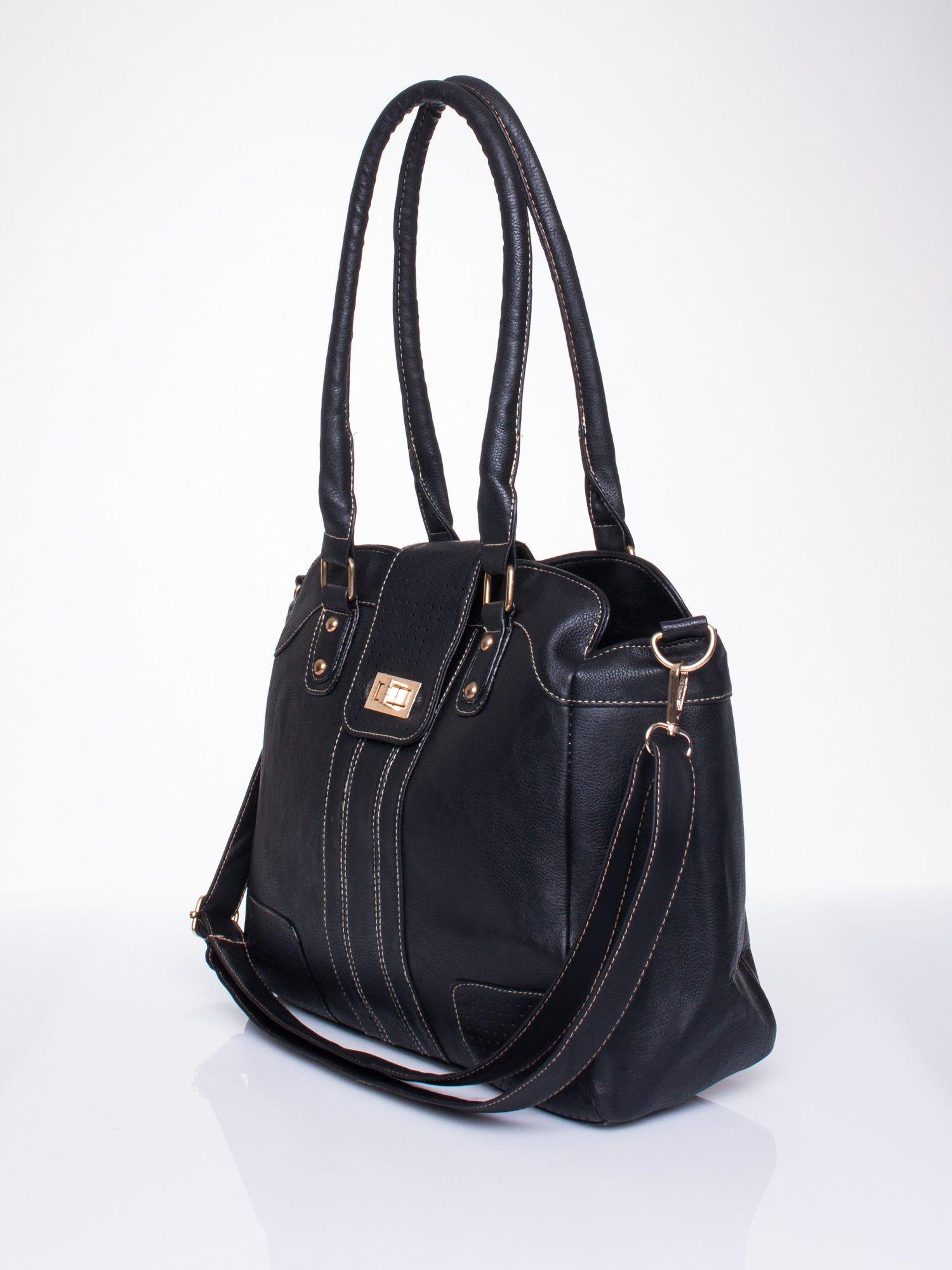 Czarna torba miejska z klapką                                  zdj.                                  3