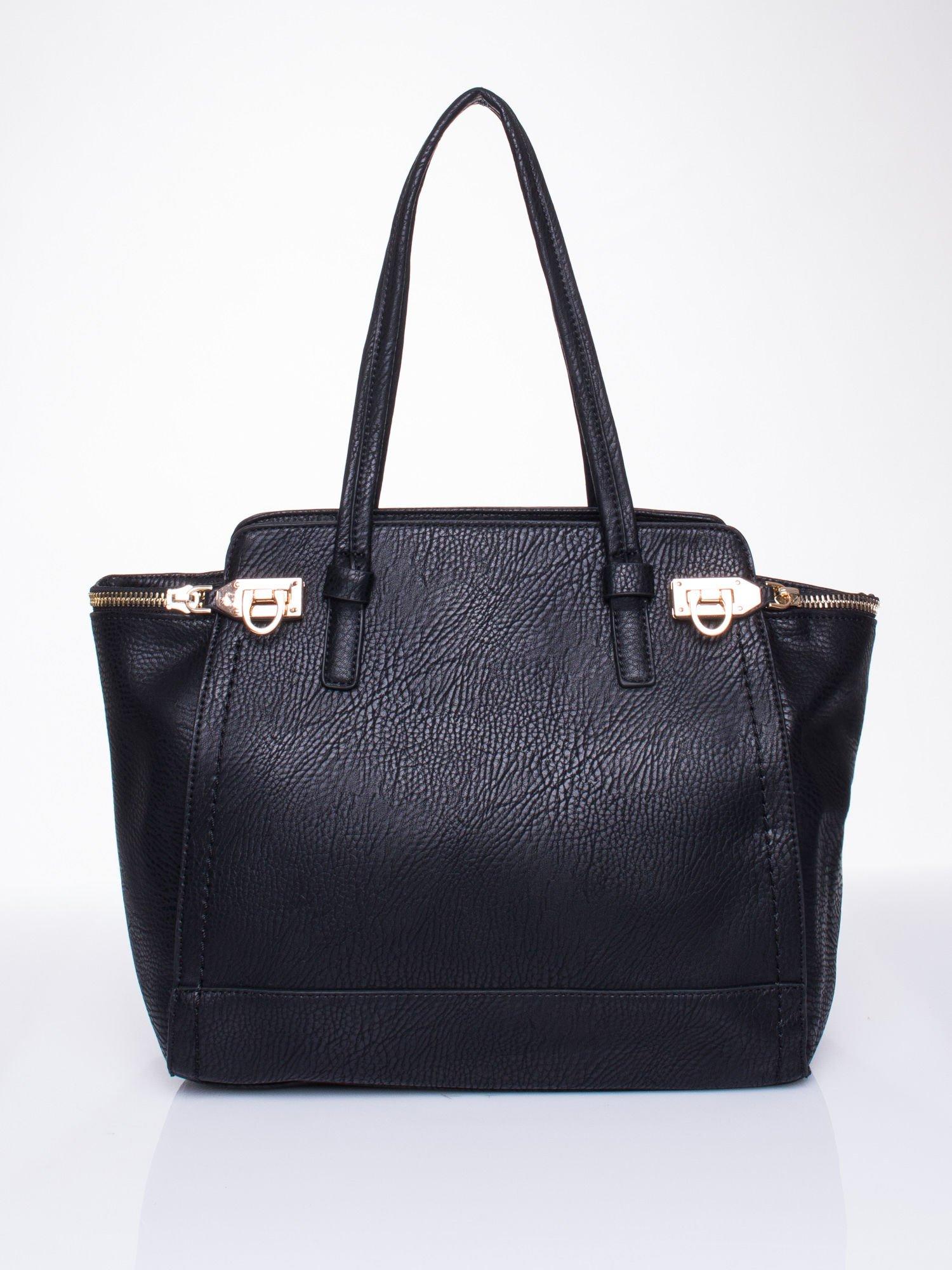 Czarna torba na ramię z dekoracyjnym suwakiem                                  zdj.                                  4