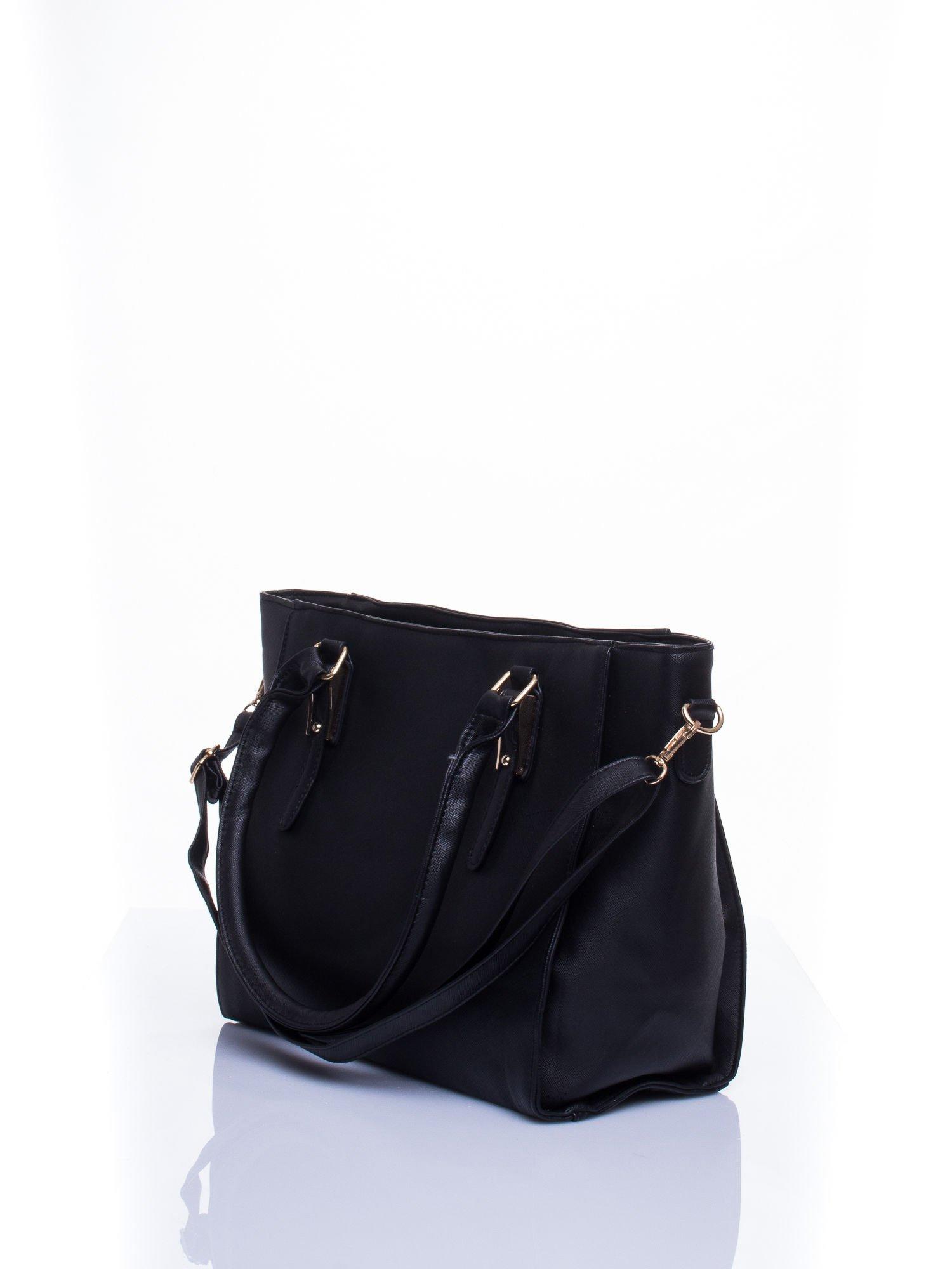 Czarna torba shopper bag z odpinanym paskiem                                  zdj.                                  5